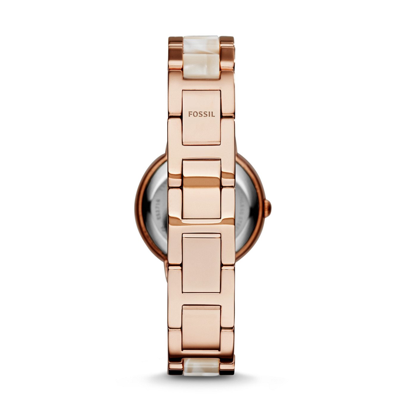 Virginia Three-Hand Stainless Steel Watch – Rose with Horn Acetate
