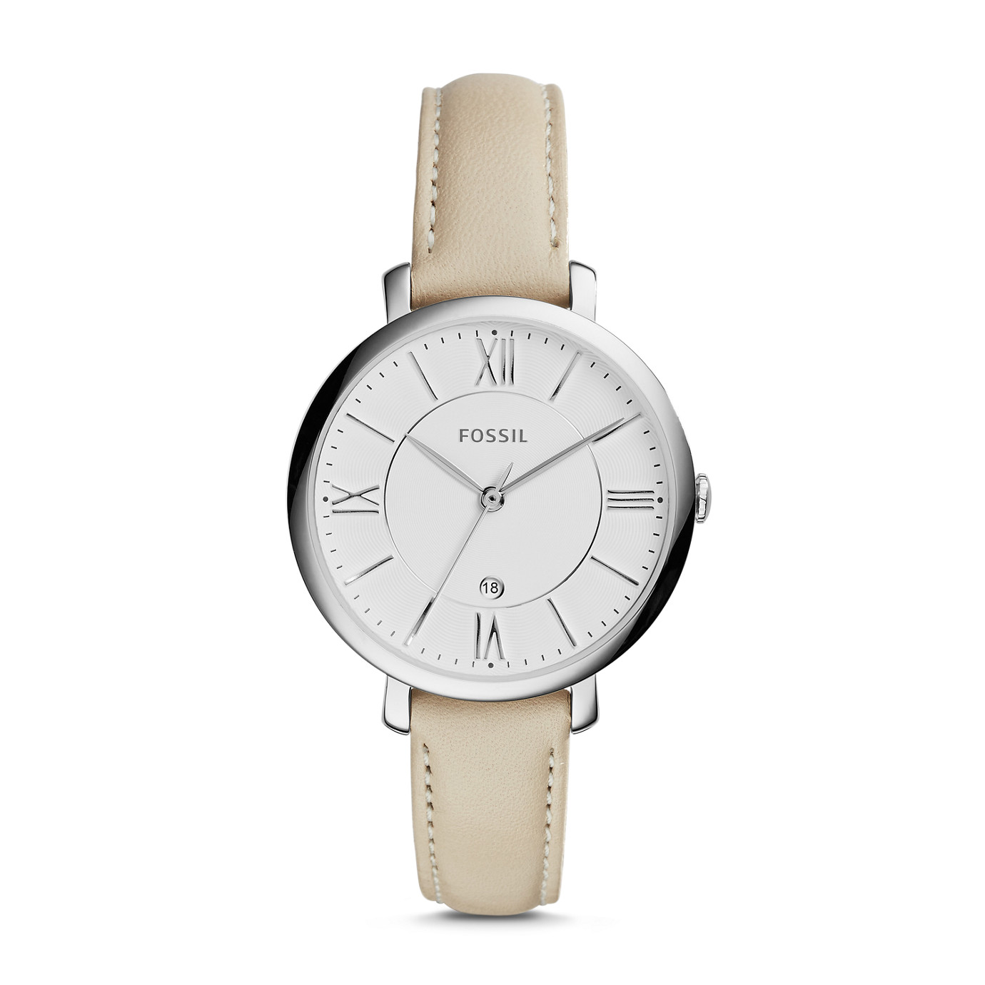 Jacqueline Three-Hand Date Leather Watch – White