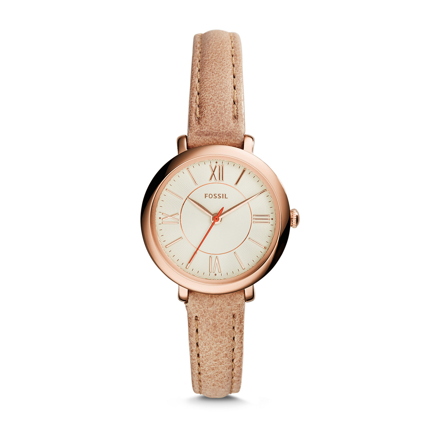 Jacqueline Small Three-Hand Leather Watch – Sand