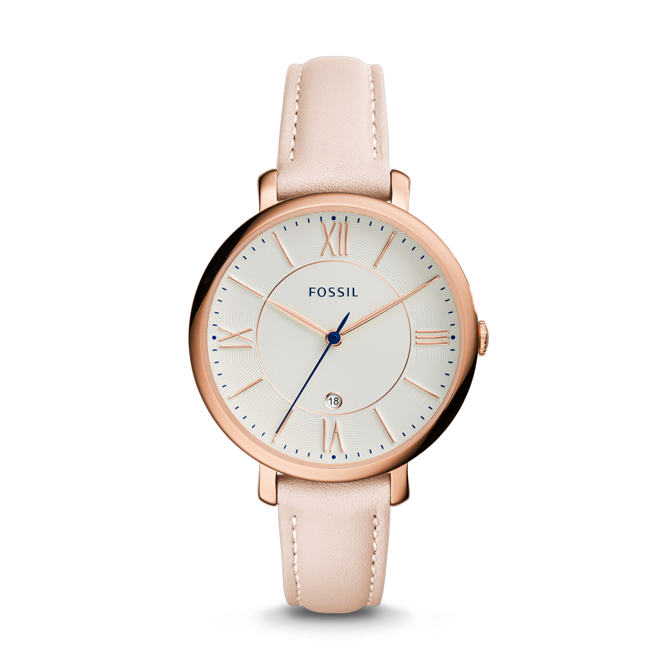 Jacqueline Date Light Brown Leather Watch