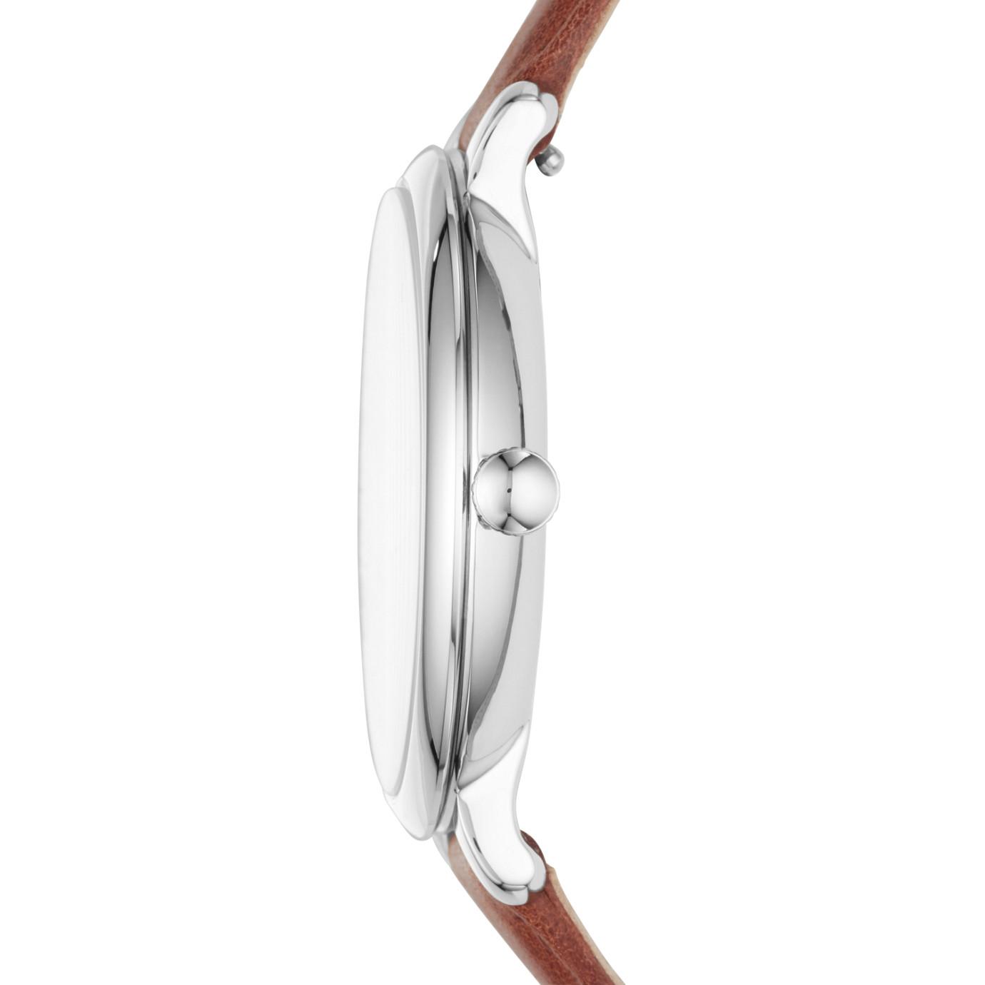 Jacqueline 系列三指針日期顯示棕色皮革手錶