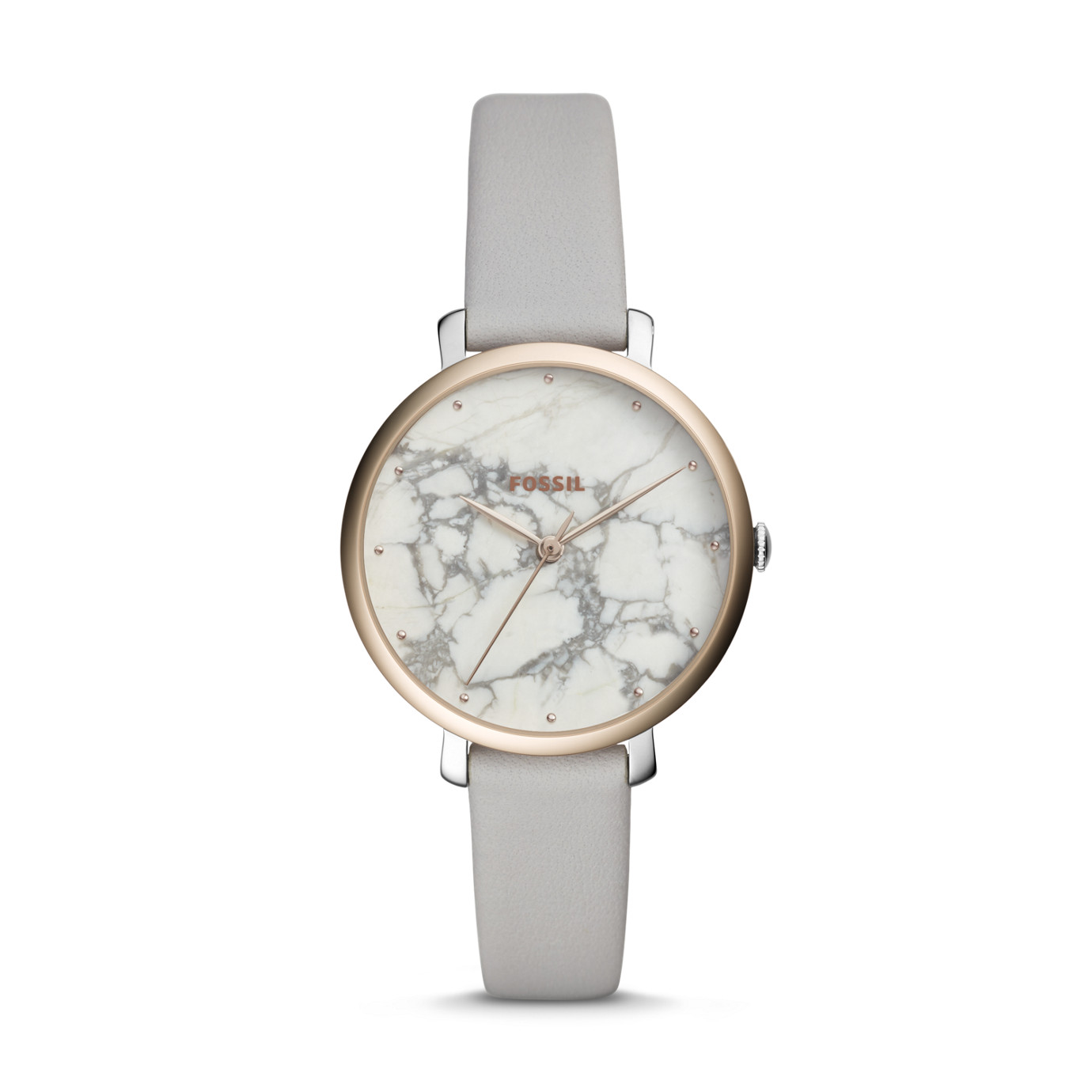 Jacqueline Three-Hand Mineral Gray Leather Watch