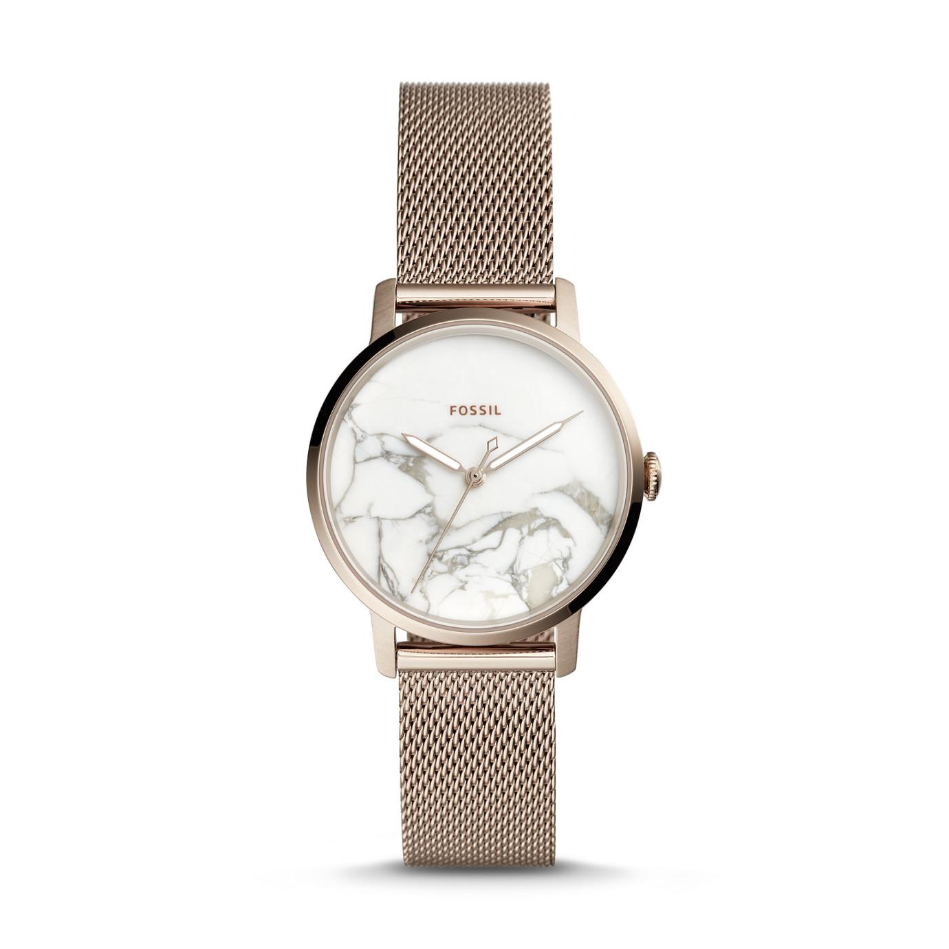 Neely 系列三指針淡粉紅不鏽鋼手錶