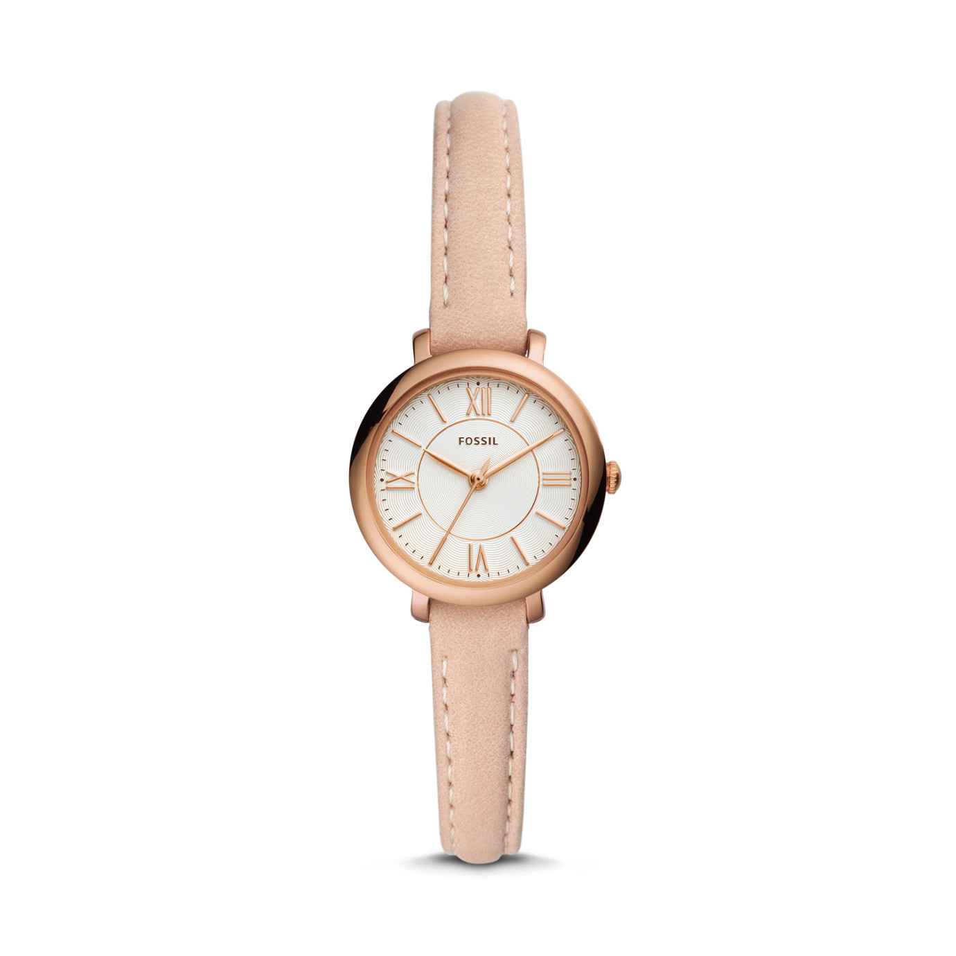 Jacqueline Mini Three-Hand Blush Leather Watch