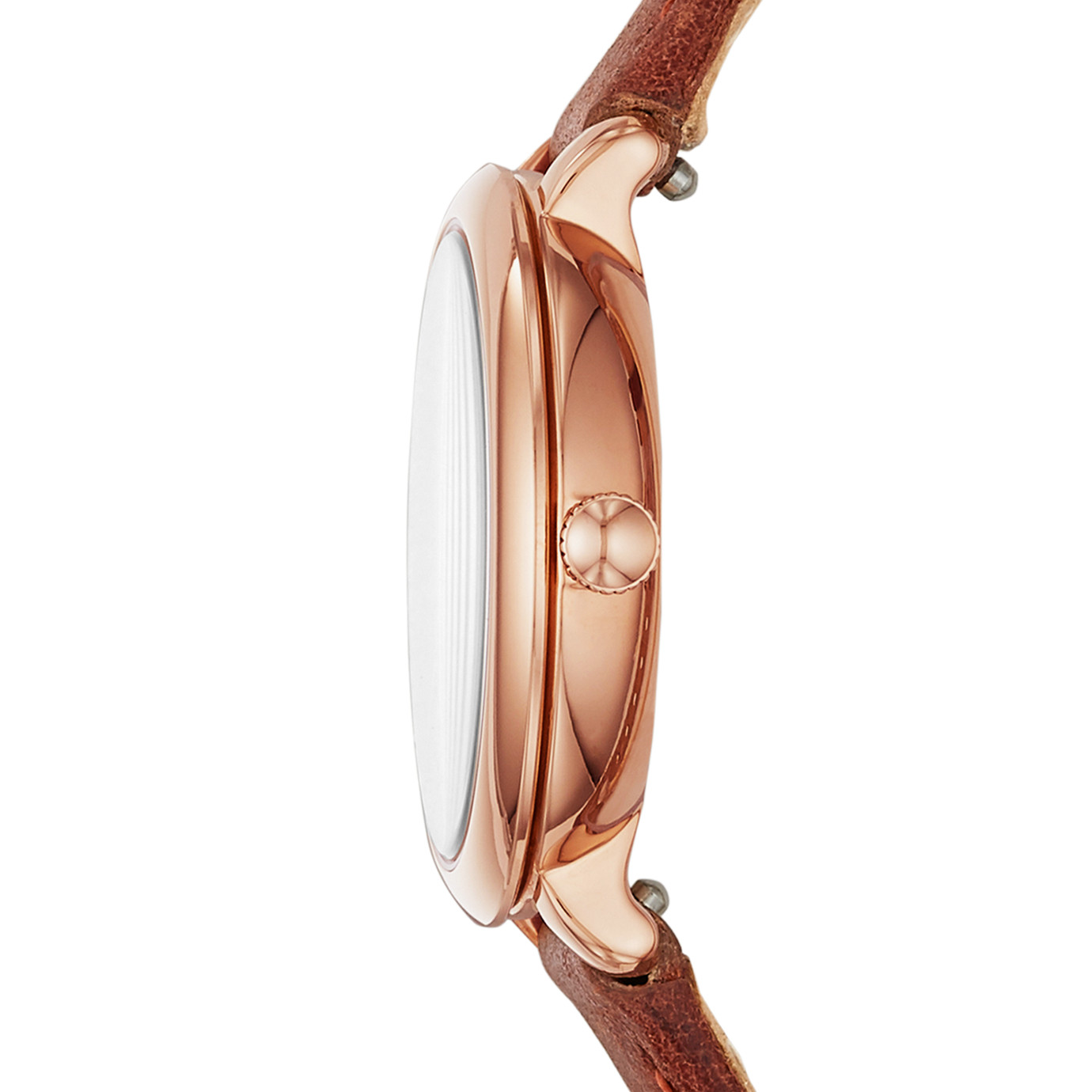 Jacqueline Three-Hand Terracotta Leather Watch