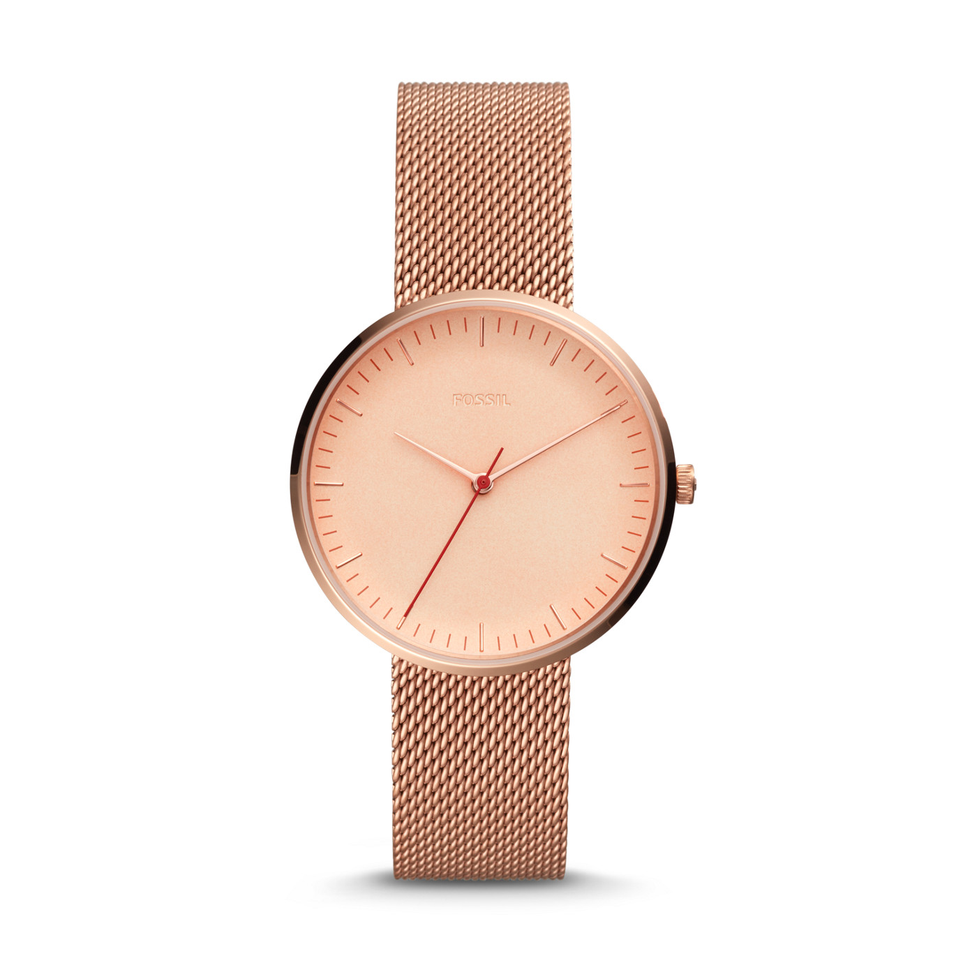 Essentialist 系列三指針玫瑰金色不鏽鋼手錶