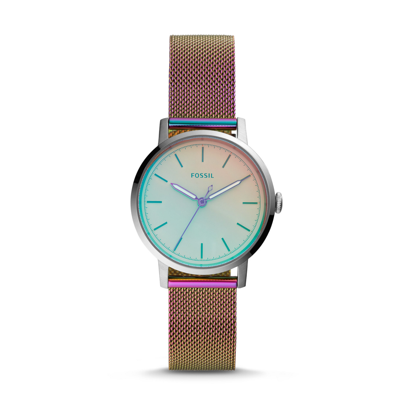 Neely Three-Hand Iridescent Stainless Steel Watch