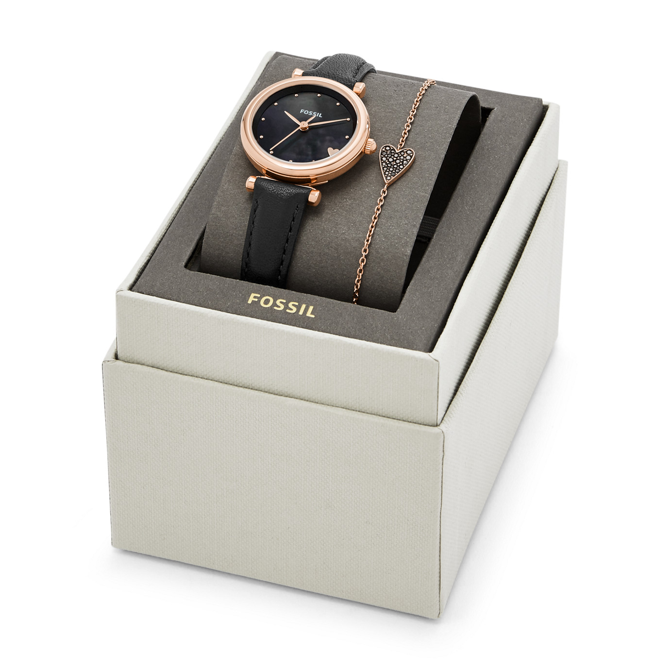 Carlie Mini Three-Hand Black Leather Watch and Bracelet Box Set