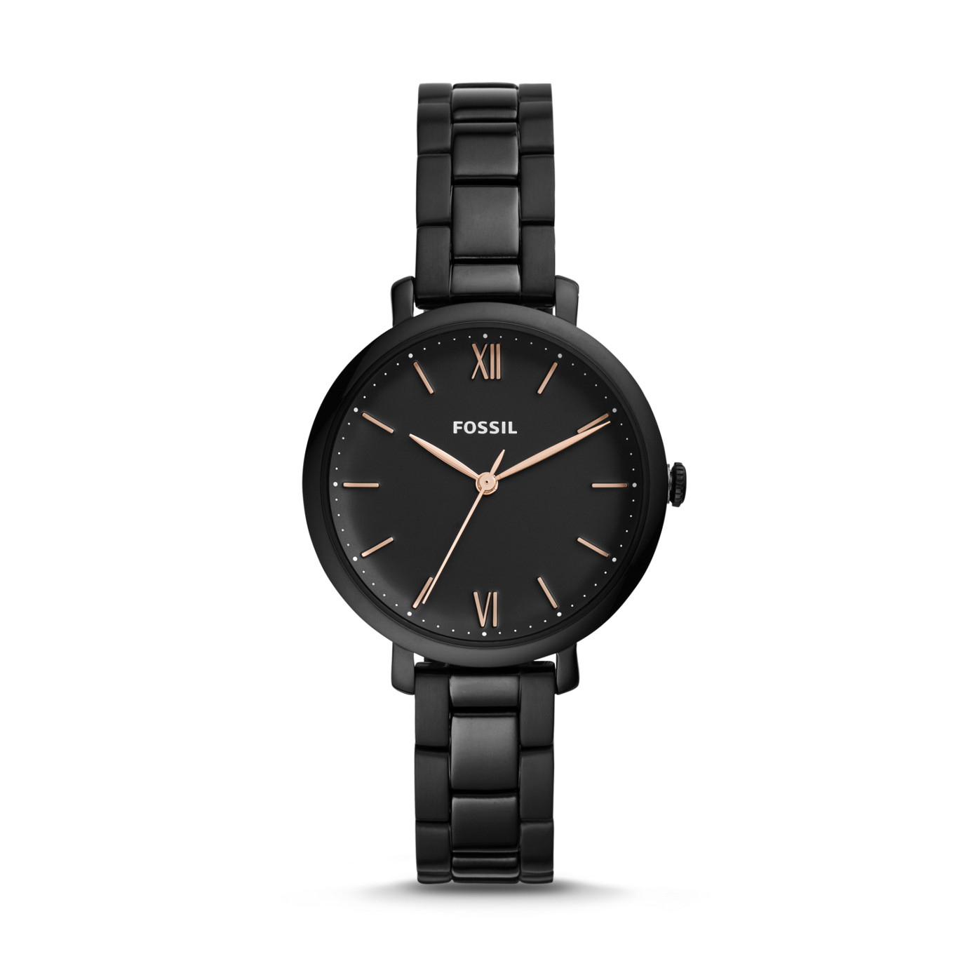 Jacqueline Three-Hand Black Stainless Steel Watch