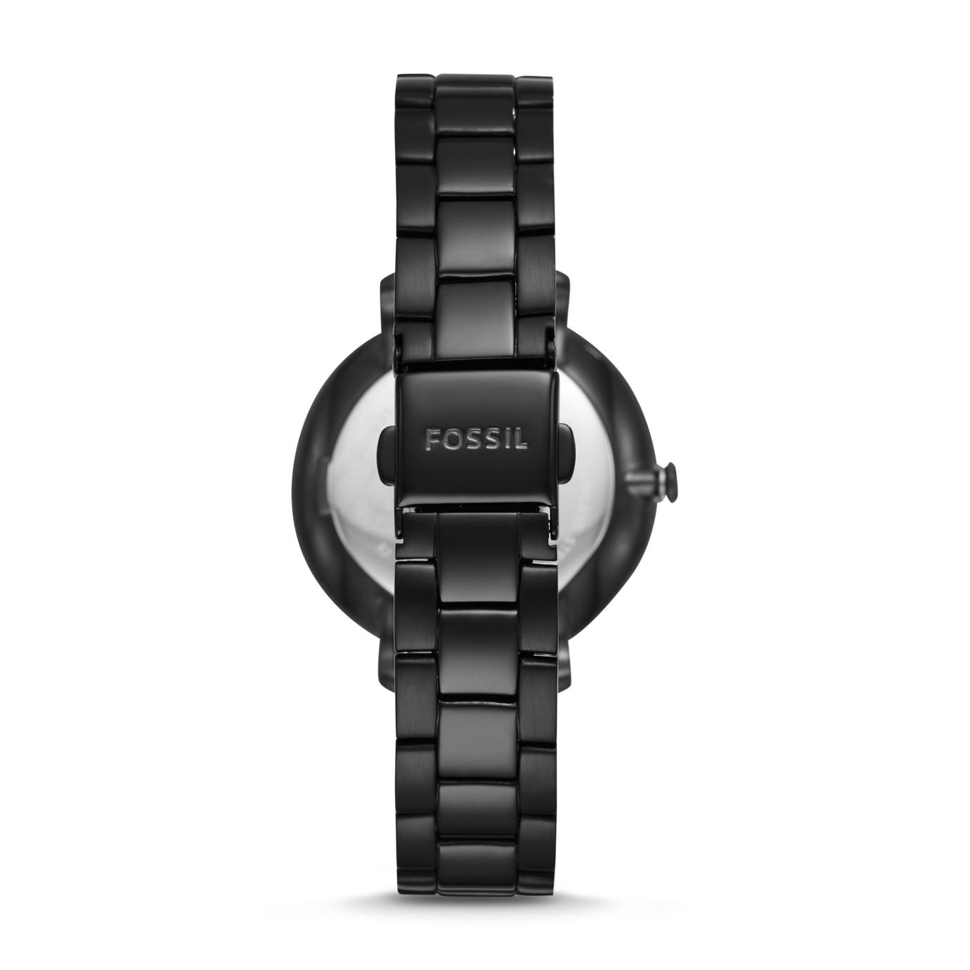 Jacqueline Three-Hand Black Stainless Steel Watch