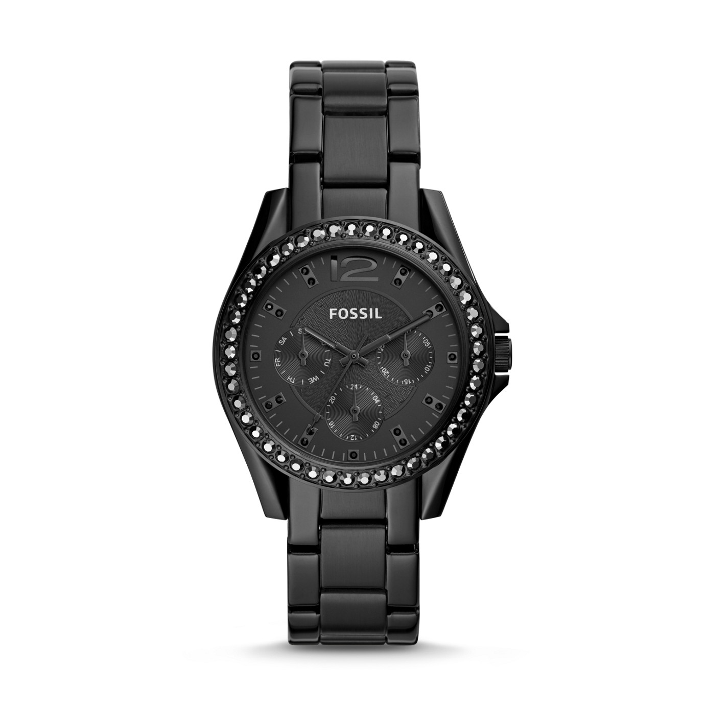 Riley Multifunction Black Stainless Steel Watch