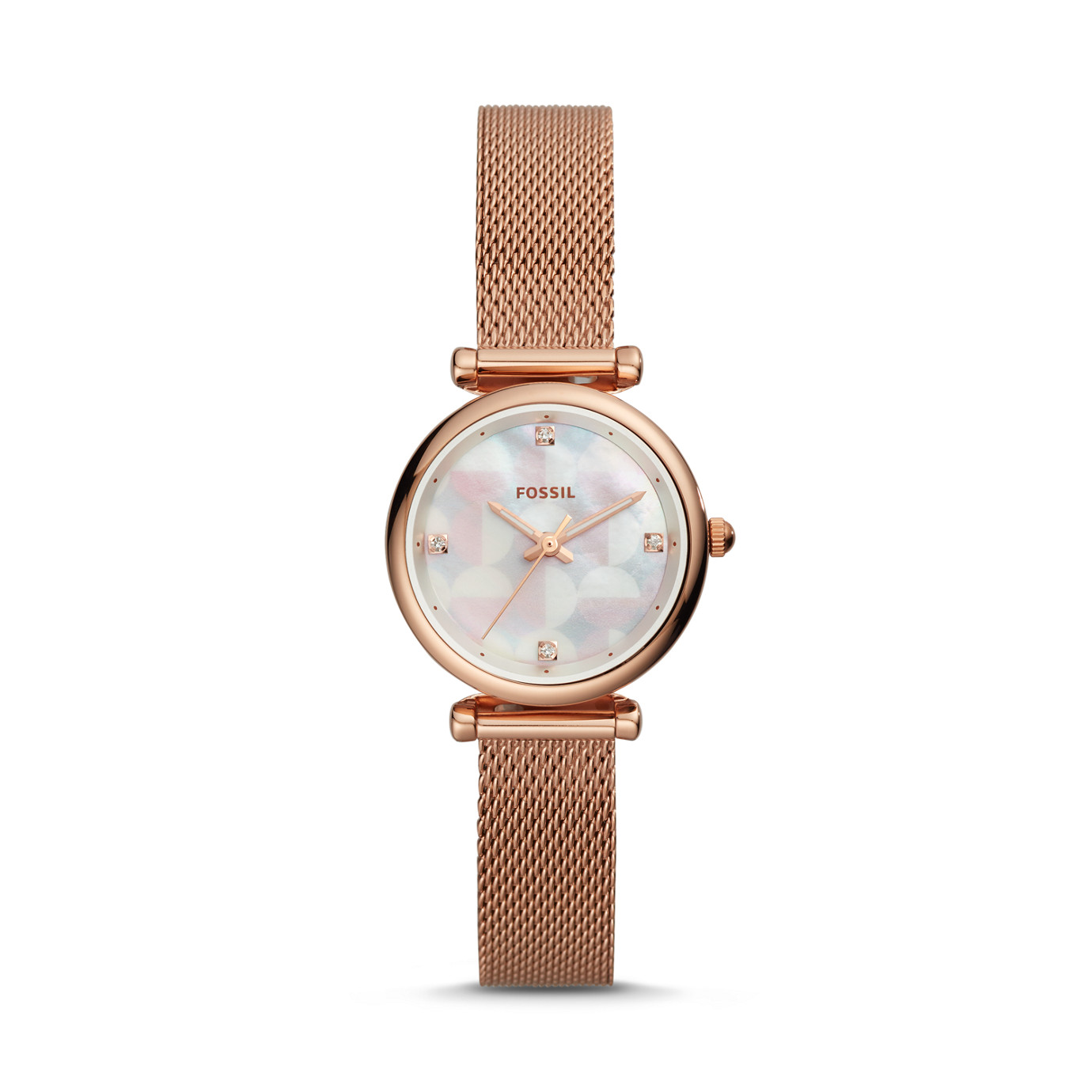 Carlie Mini Three-Hand Rose Gold-Tone Stainless Steel Watch