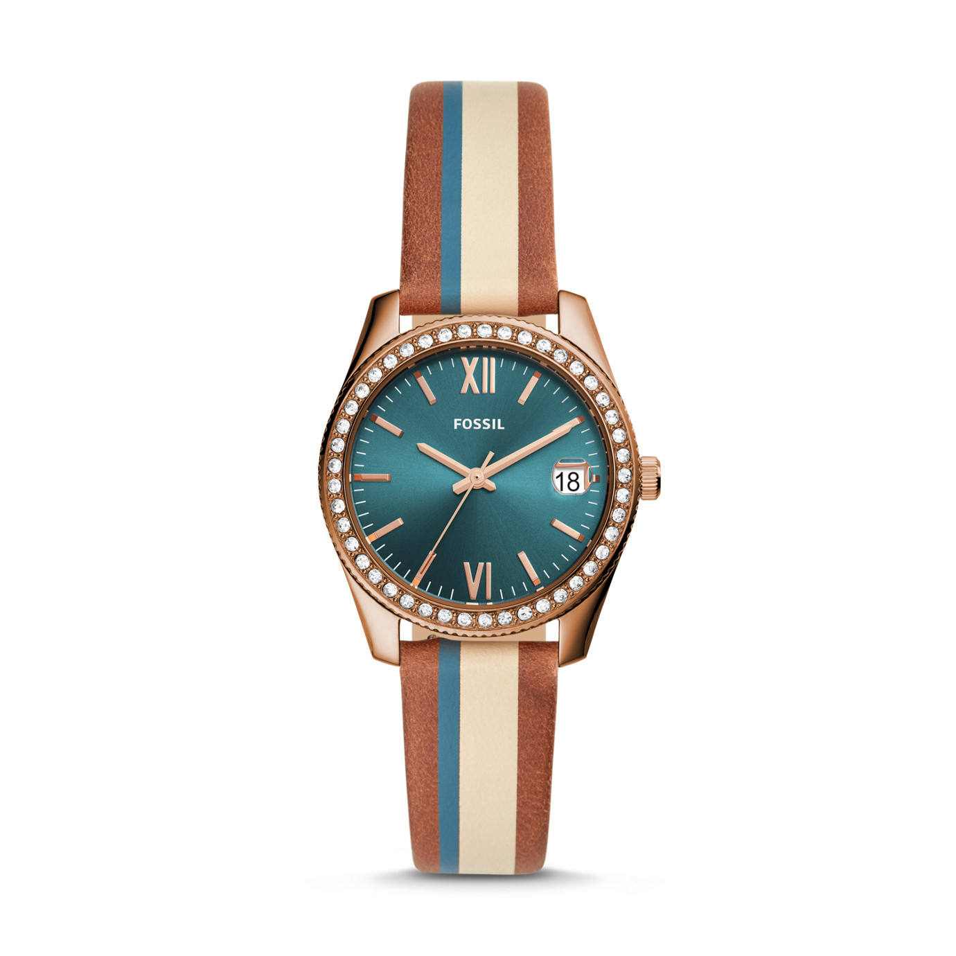 Scarlette Mini Three-Hand Date Striped Brown Leather Watch