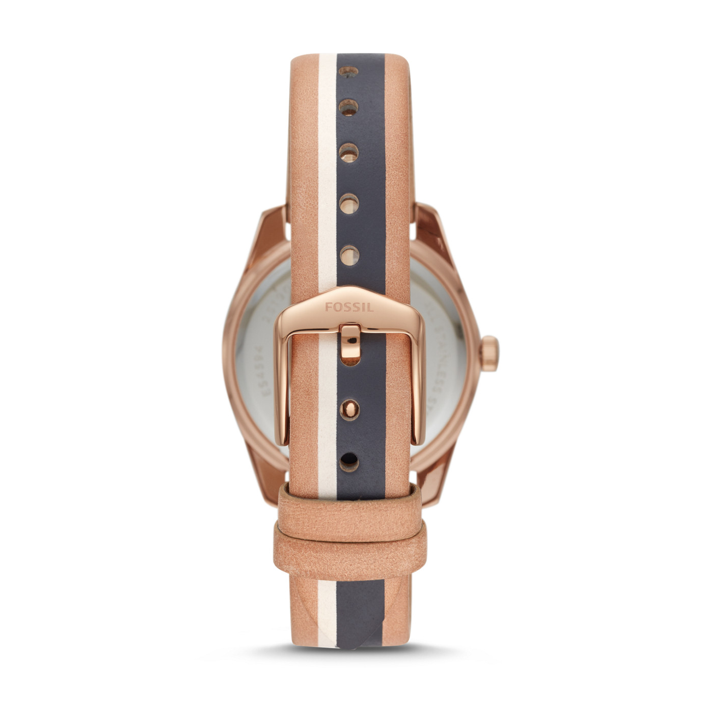 Scarlette Mini Three-Hand Date Striped Sand Leather Watch