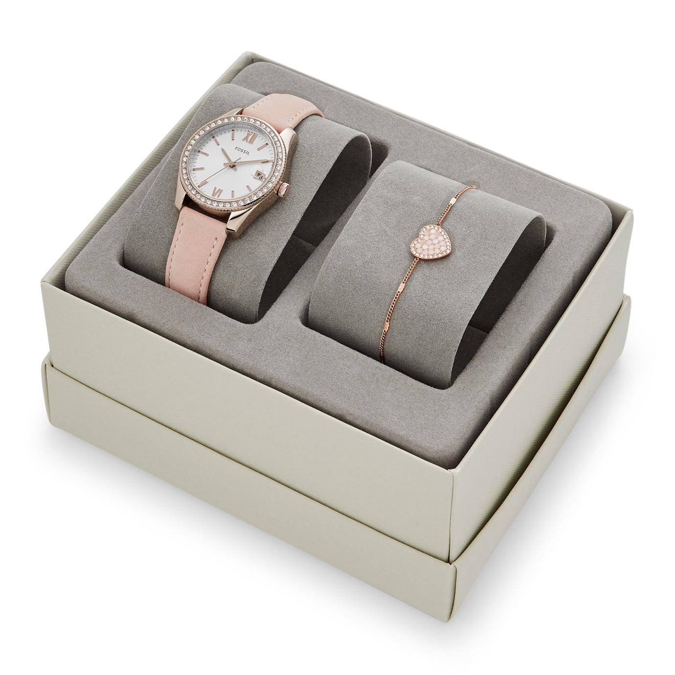 Scarlette Mini Three-Hand Date Blush Leather Watch and Bracelet Box Set