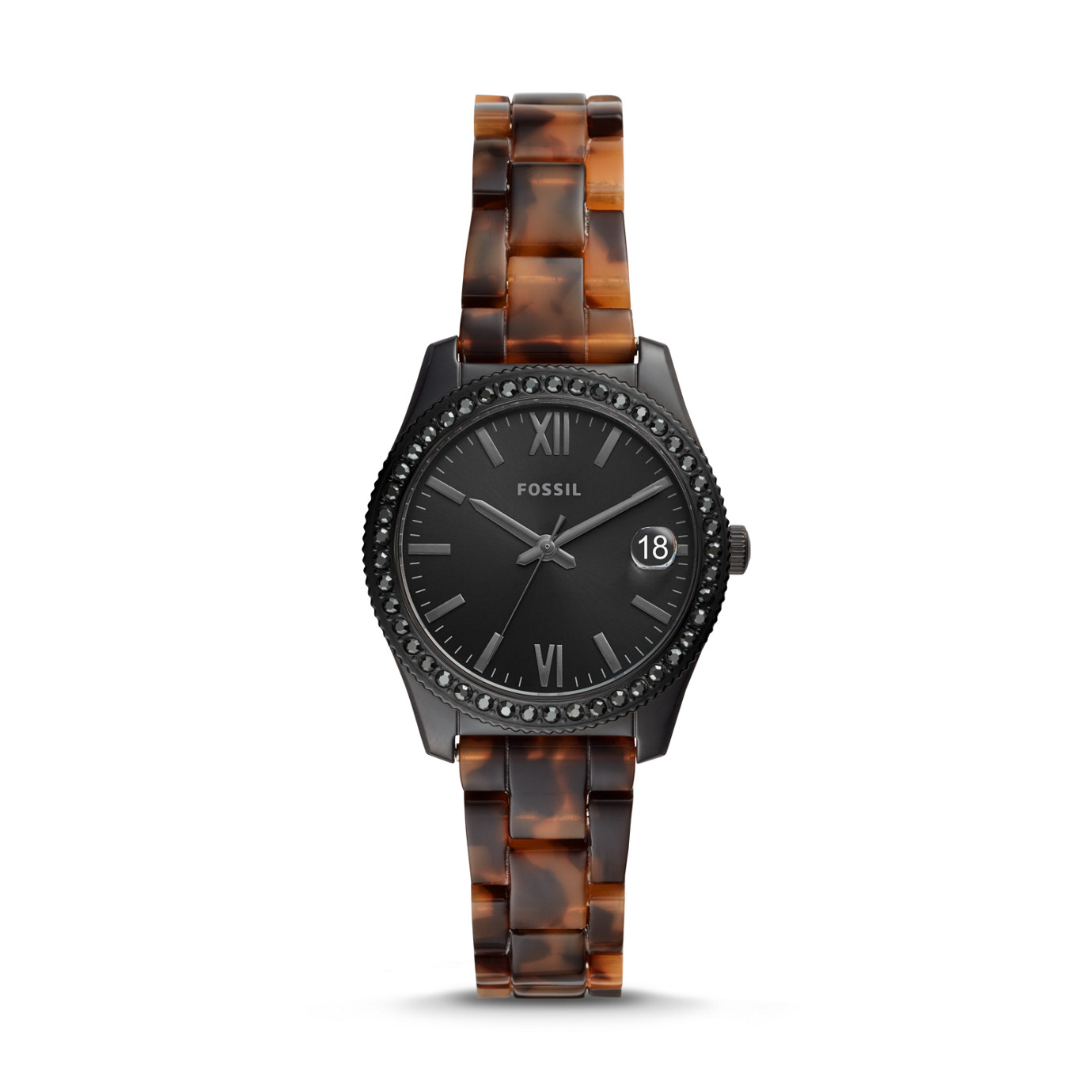 Scarlette Mini Three-Hand Date Tortoise Acetate Watch
