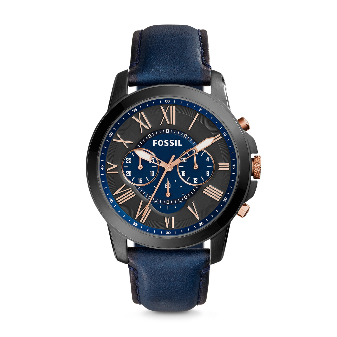 Grant Chronograph Leather Watch – Blue