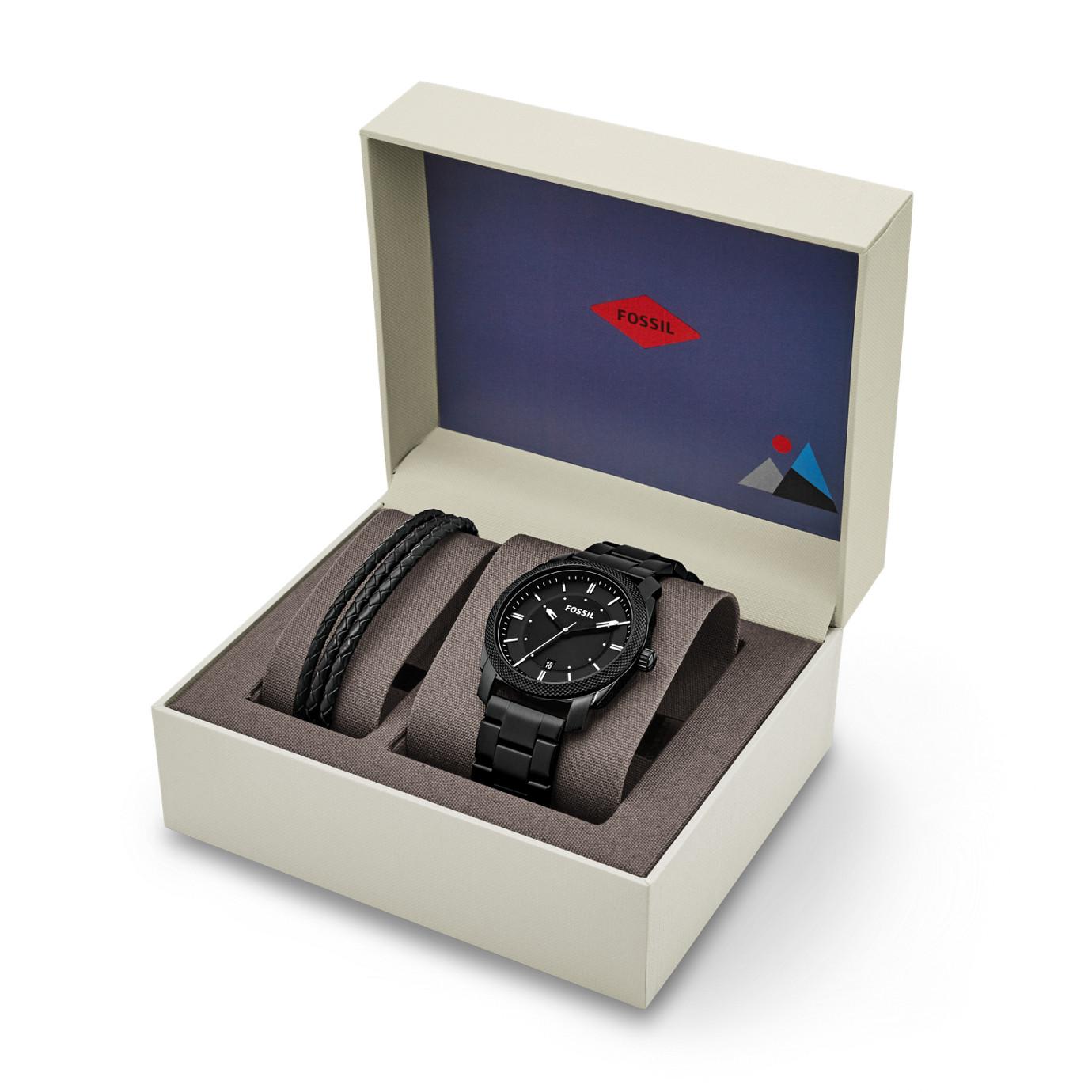 Machine ThreeHand Date Black Stainless Steel Watch and Jewelry Box