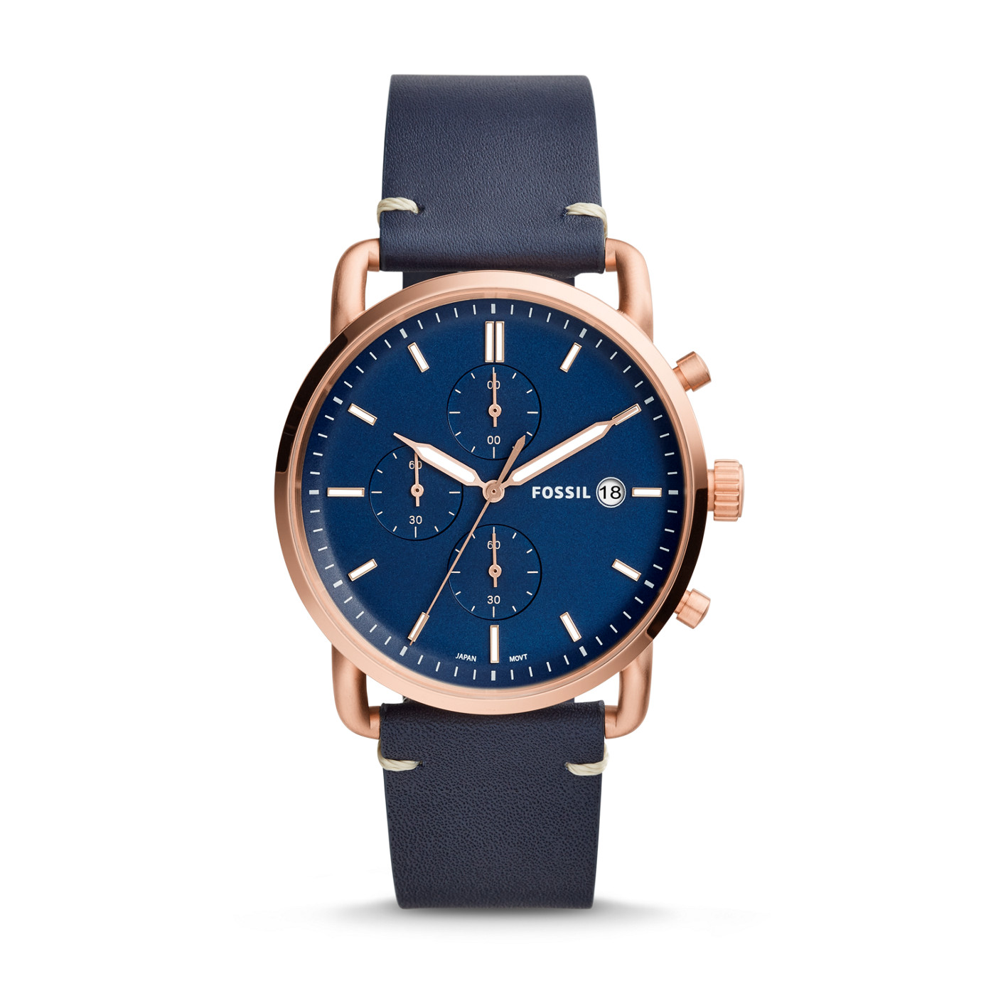 The Commuter Chronograph Navy Leather Watch
