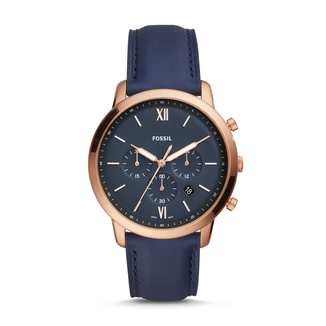 Neutra Chronograph Navy Leather Watch