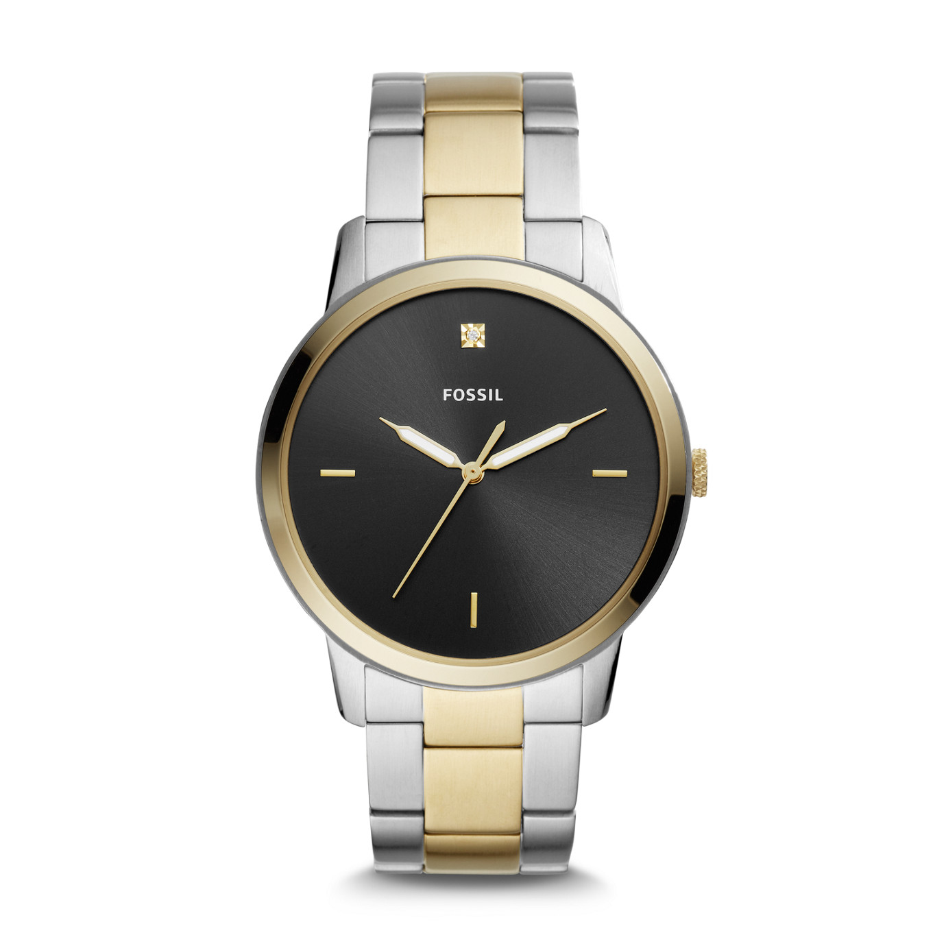 The Minimalist Carbon Series Three-Hand Two-Tone Stainless Steel Watch