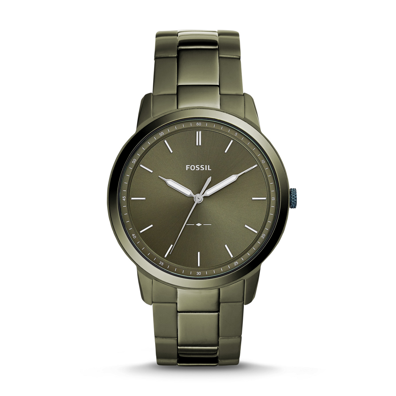 The Minimalist Three-Hand Olive Gray Stainless Steel Watch