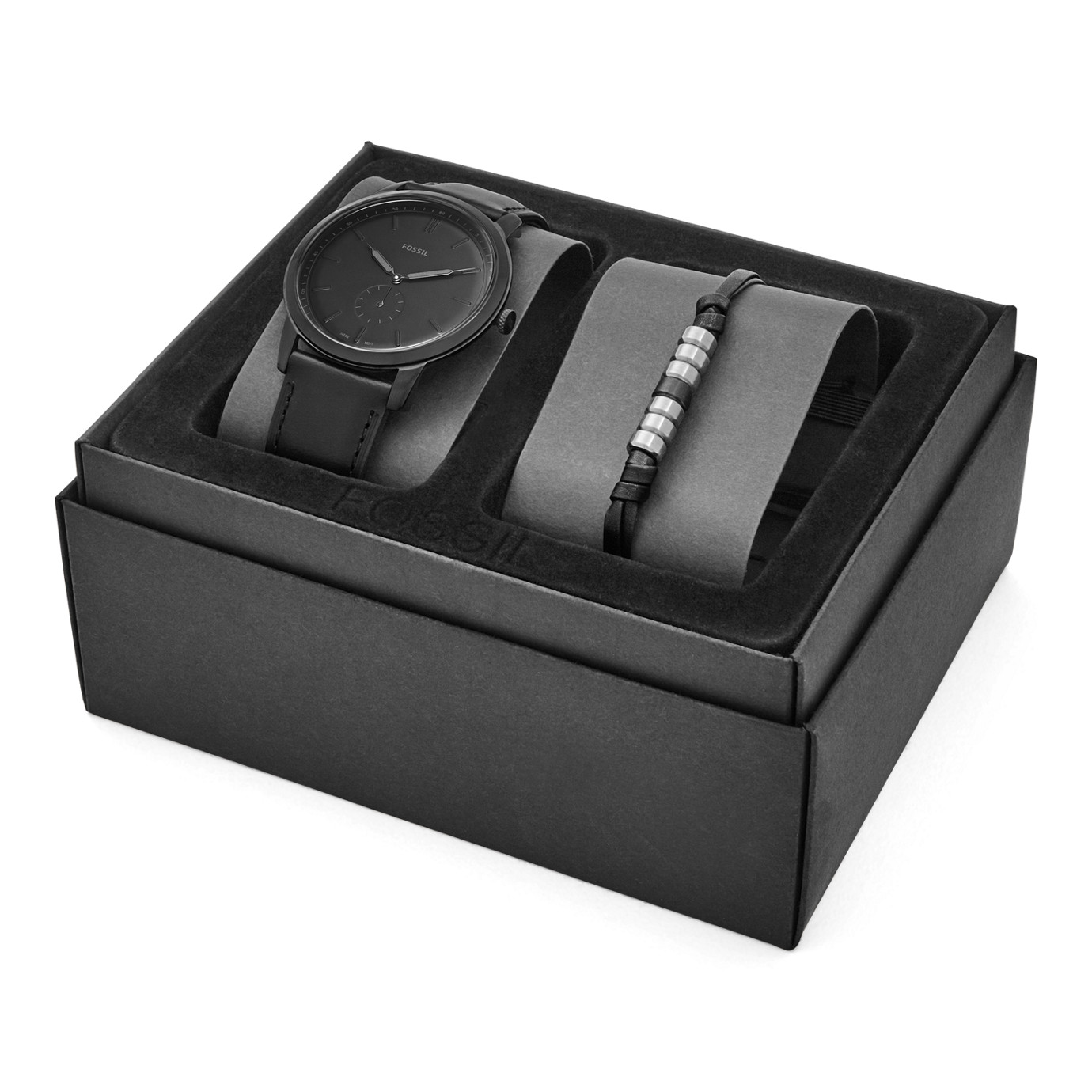 The Minimalist Two-Hand Sub-Second Black Leather Watch And Bracelet Box Set