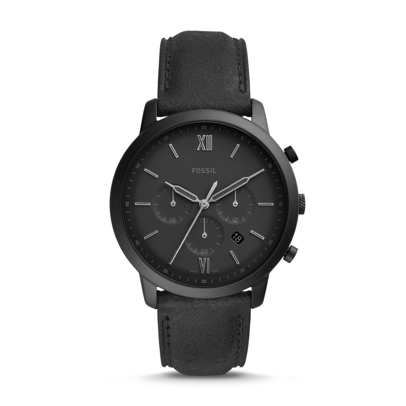 Neutra Chronograph Black Leather Watch