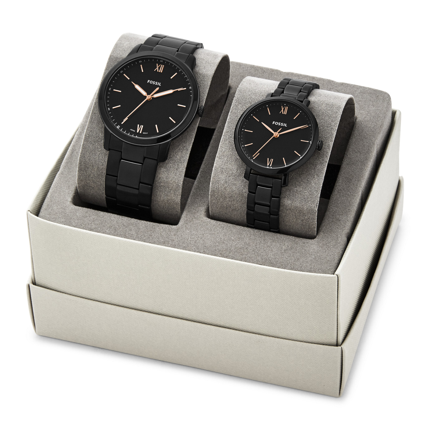 His & Her Three-Hand Black Stainless Steel Watch Box Set