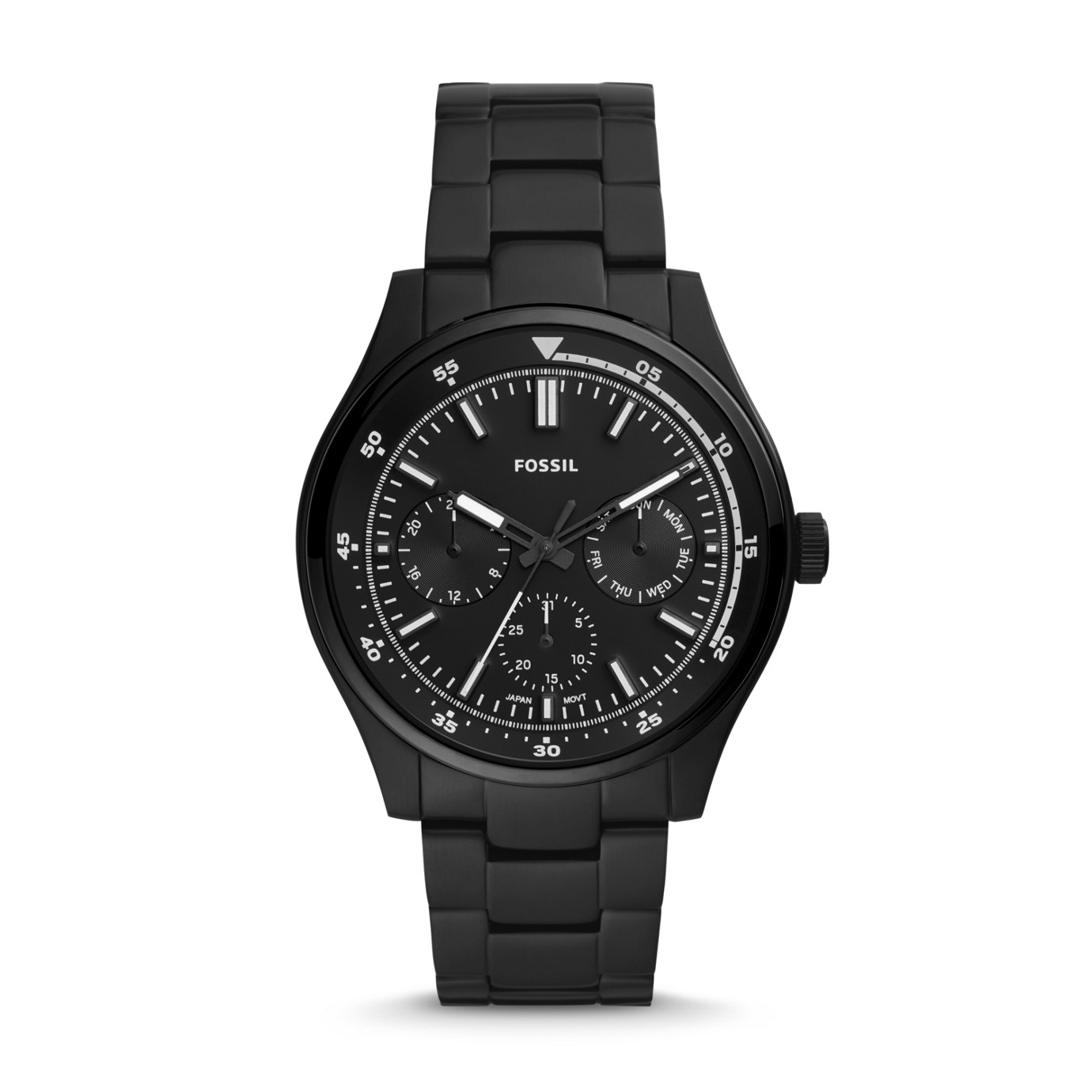 Belmar Multifunction Black Stainless Steel Watch