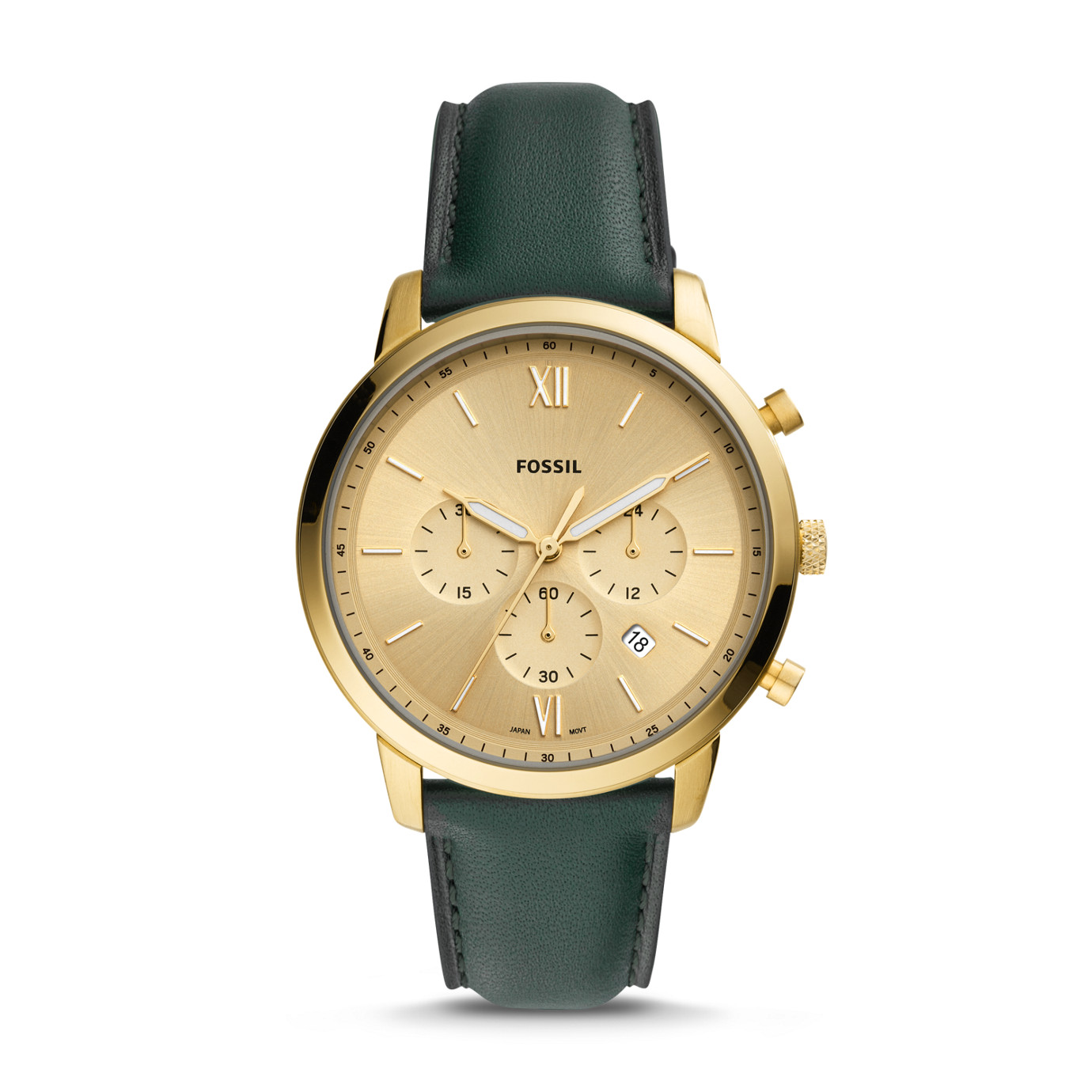 Neutra Chronograph Dark Green Leather Watch