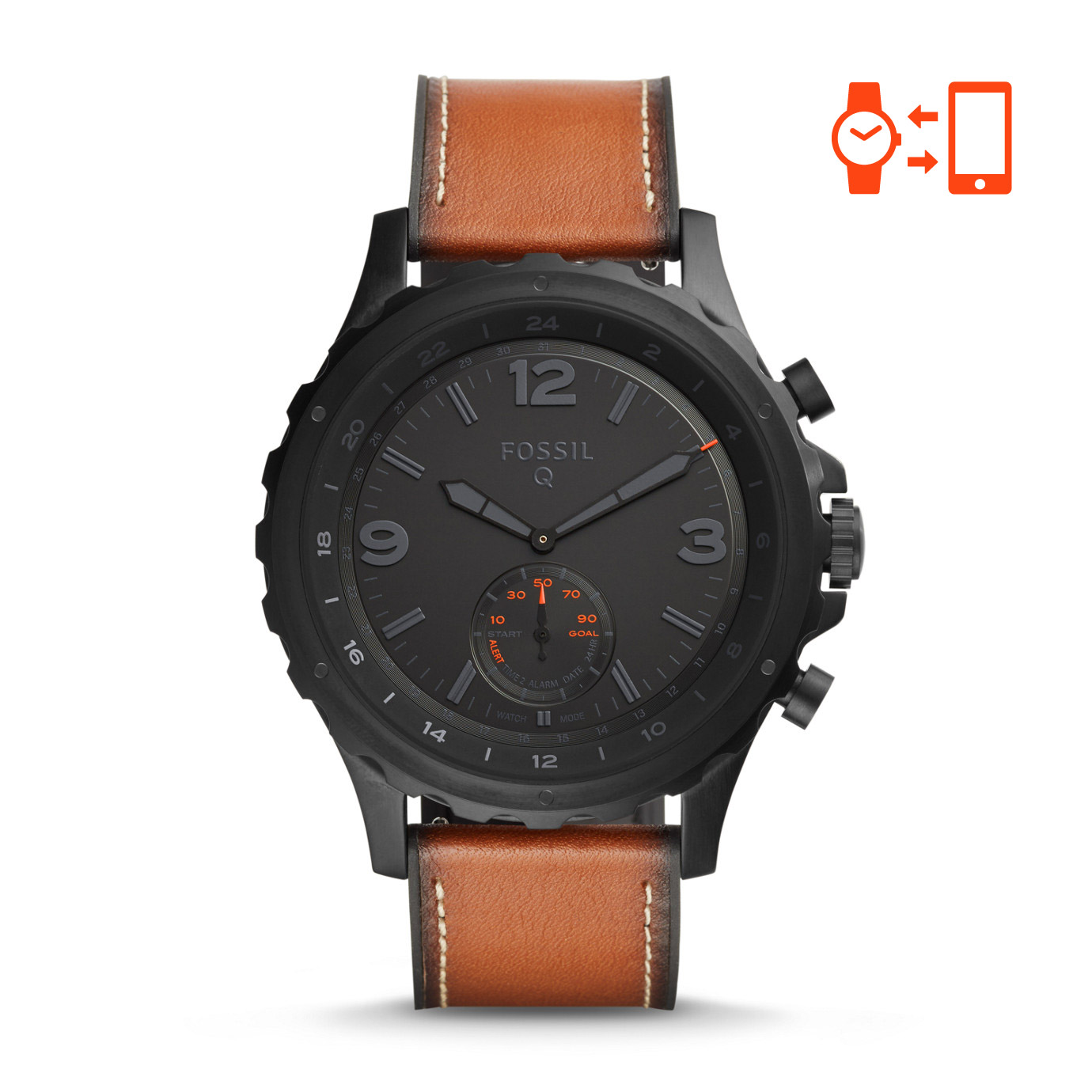 Fossil Nate Dark Brown Leather Hybrid Smartwatch