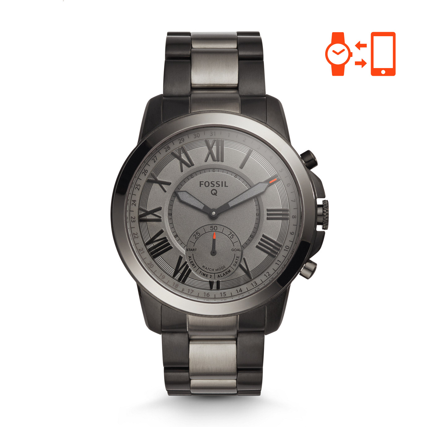 Fossil Q Grant Black and Smoke-Tone Stainless Steel Hybrid Smartwatch