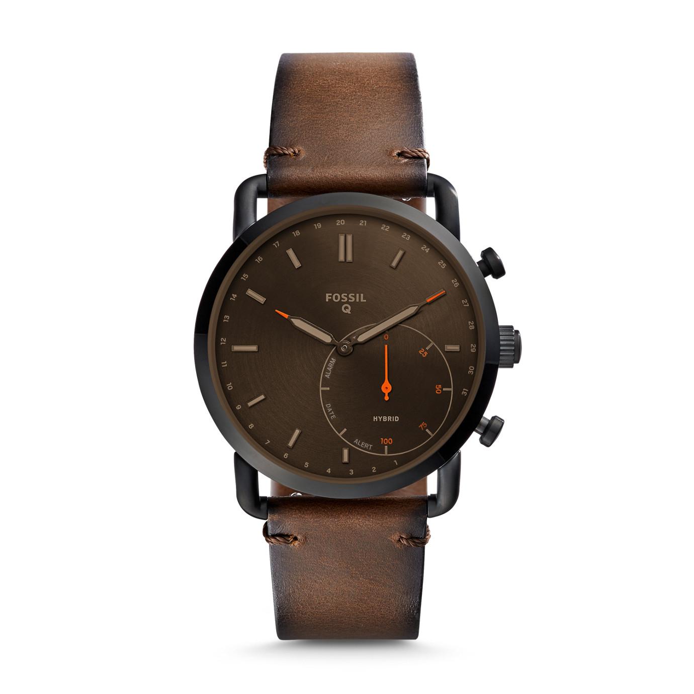 Hybrid Smartwatch - Commuter Dark Brown Leather