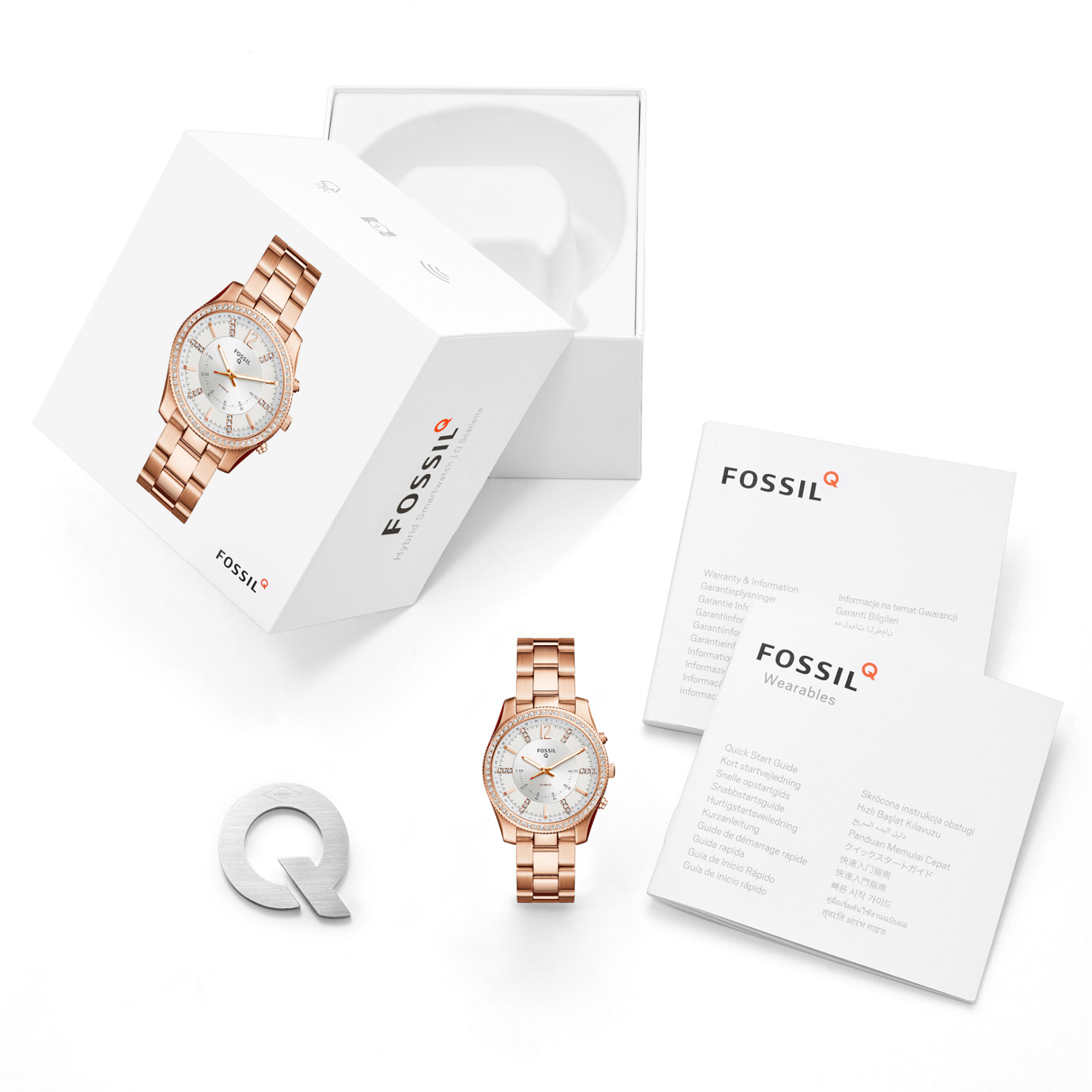 6ff2170d6 ... Hybrid Smartwatch - Q Scarlette Rose Gold-Tone Stainless Steel