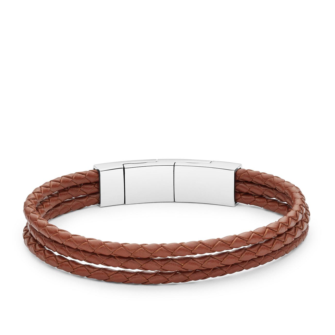 Light Brown Multi Strand Leather Bracelet