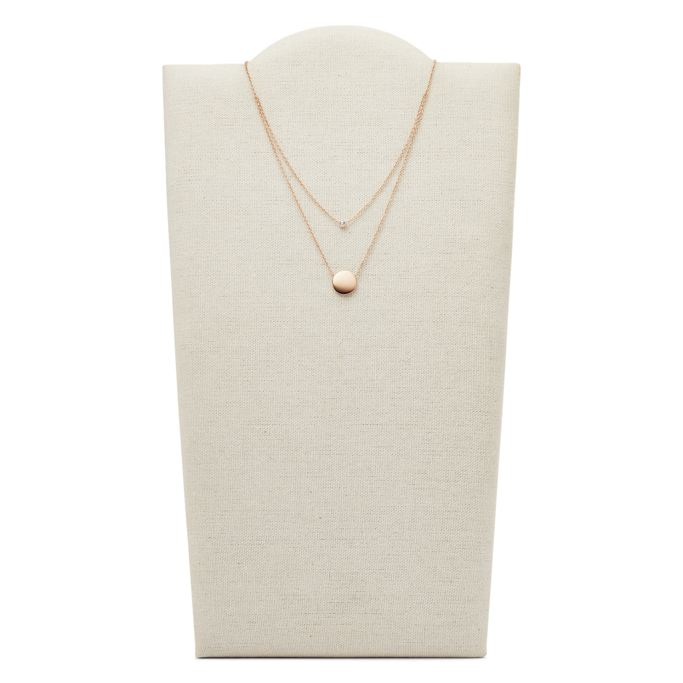 Double Glitz Rose Gold-Tone Steel Necklace