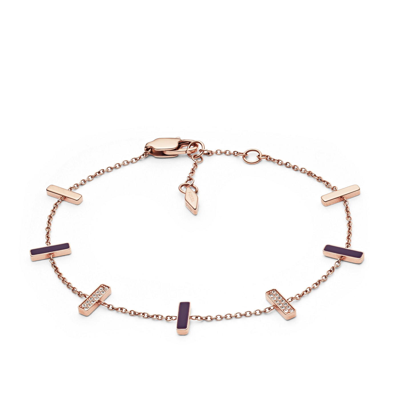 Rose Gold-Tone Stainless Steel Glitz Bracelet