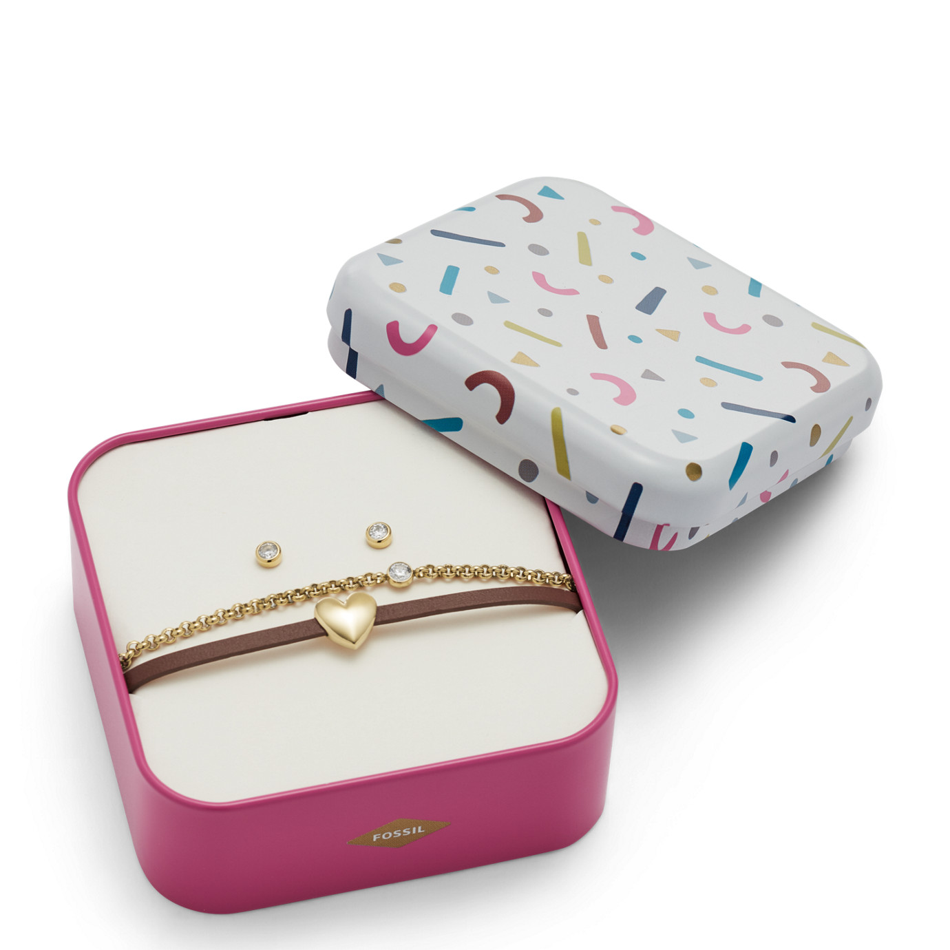 Heart Gold-Tone Stainless Steel Studs and Bracelet Box Set