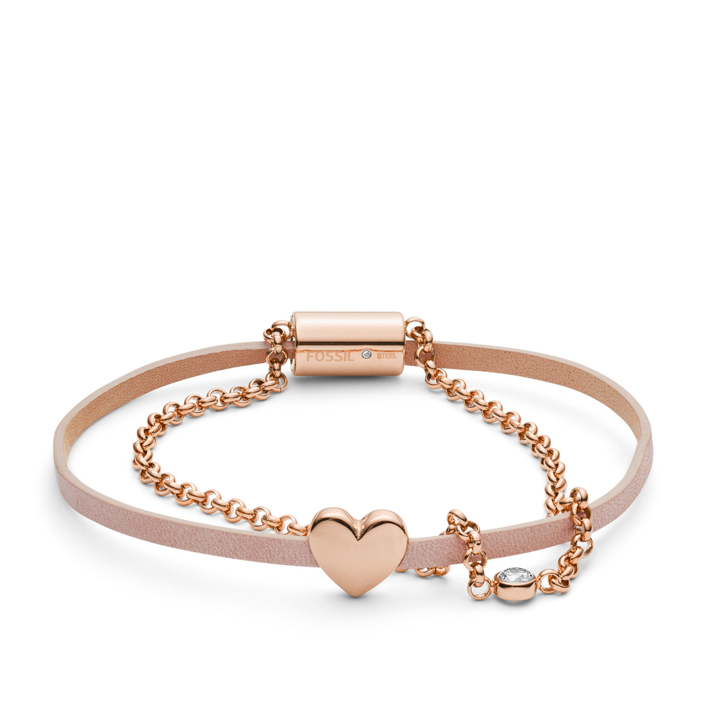 Heart Rose Gold-Tone Stainless Steel Studs and Bracelet Box Set