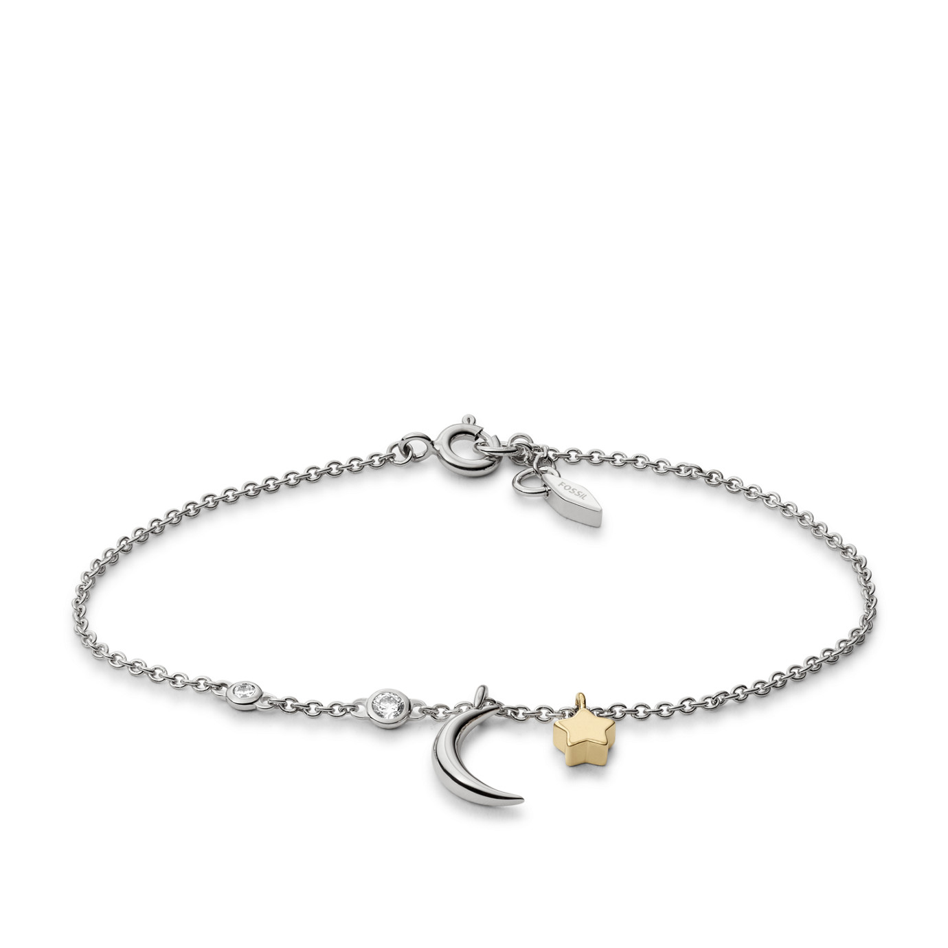 Sterling Silver Star and Crescent Moon Bracelet