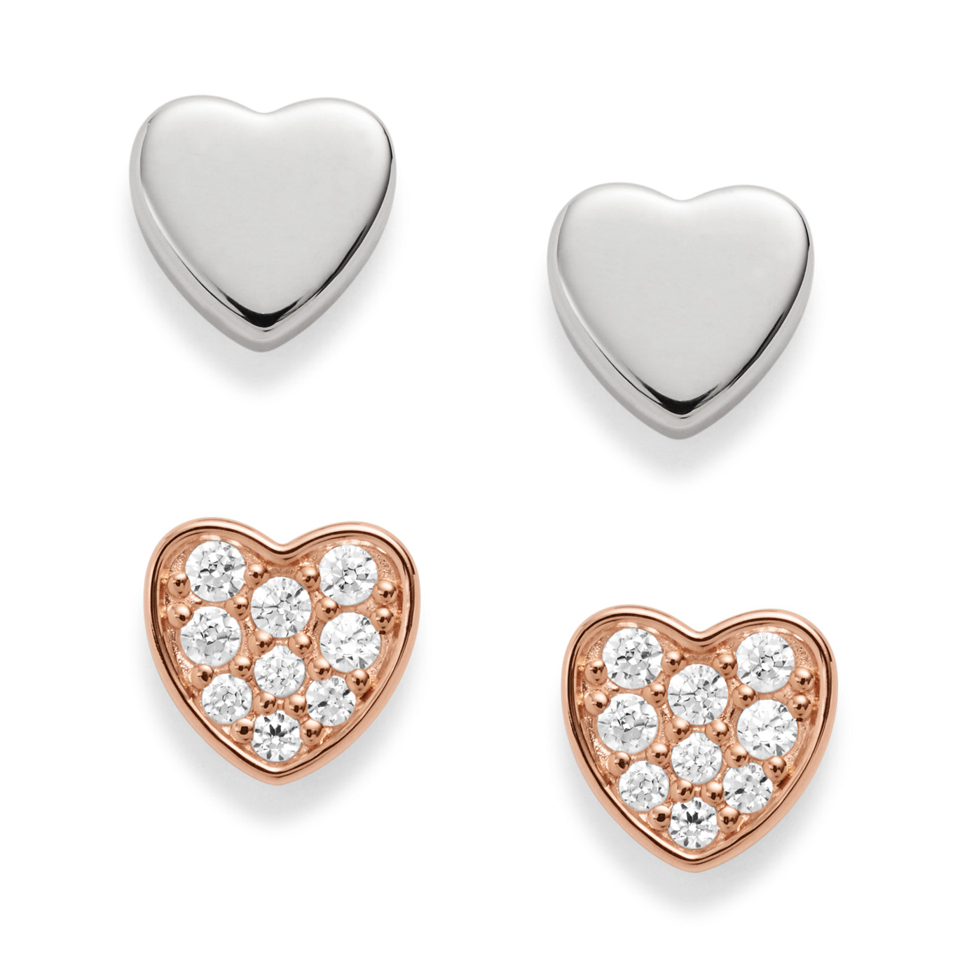 Duo Heart Two-Tone Sterling Silver Studs