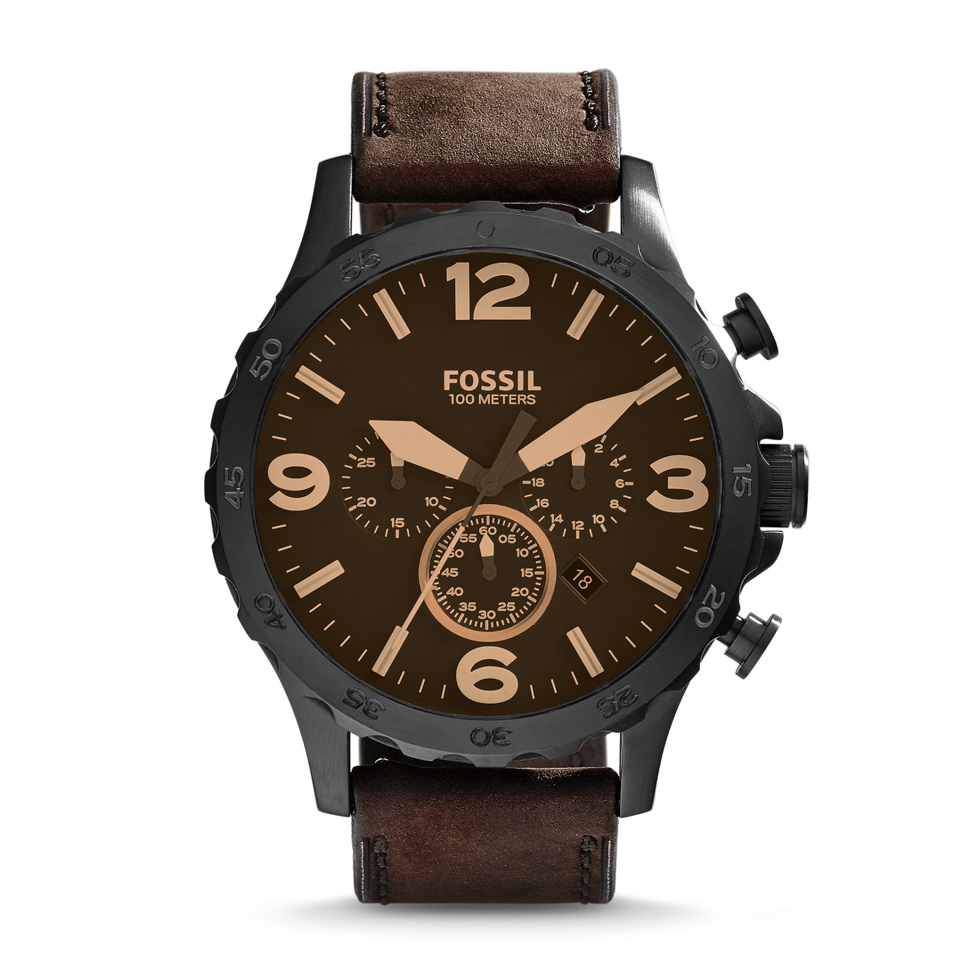 Nate Chronograph Leather Watch – Brown