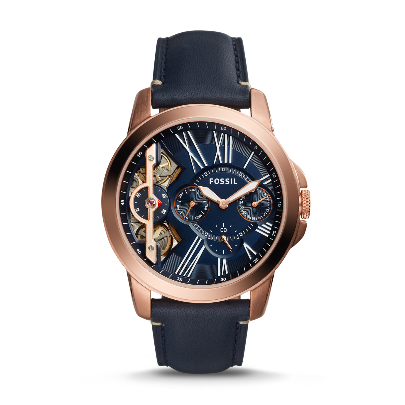 Grant Twist Three-Hand Blue Leather Watch