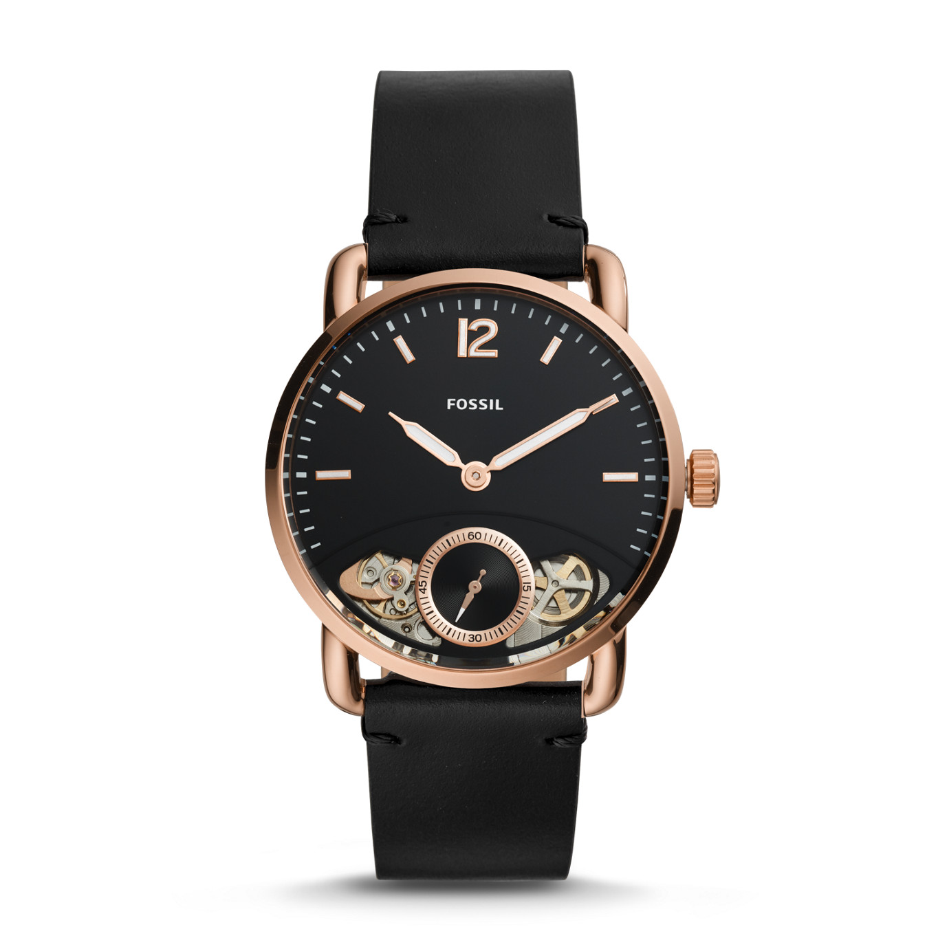 The Commuter Twist Black Leather Watch