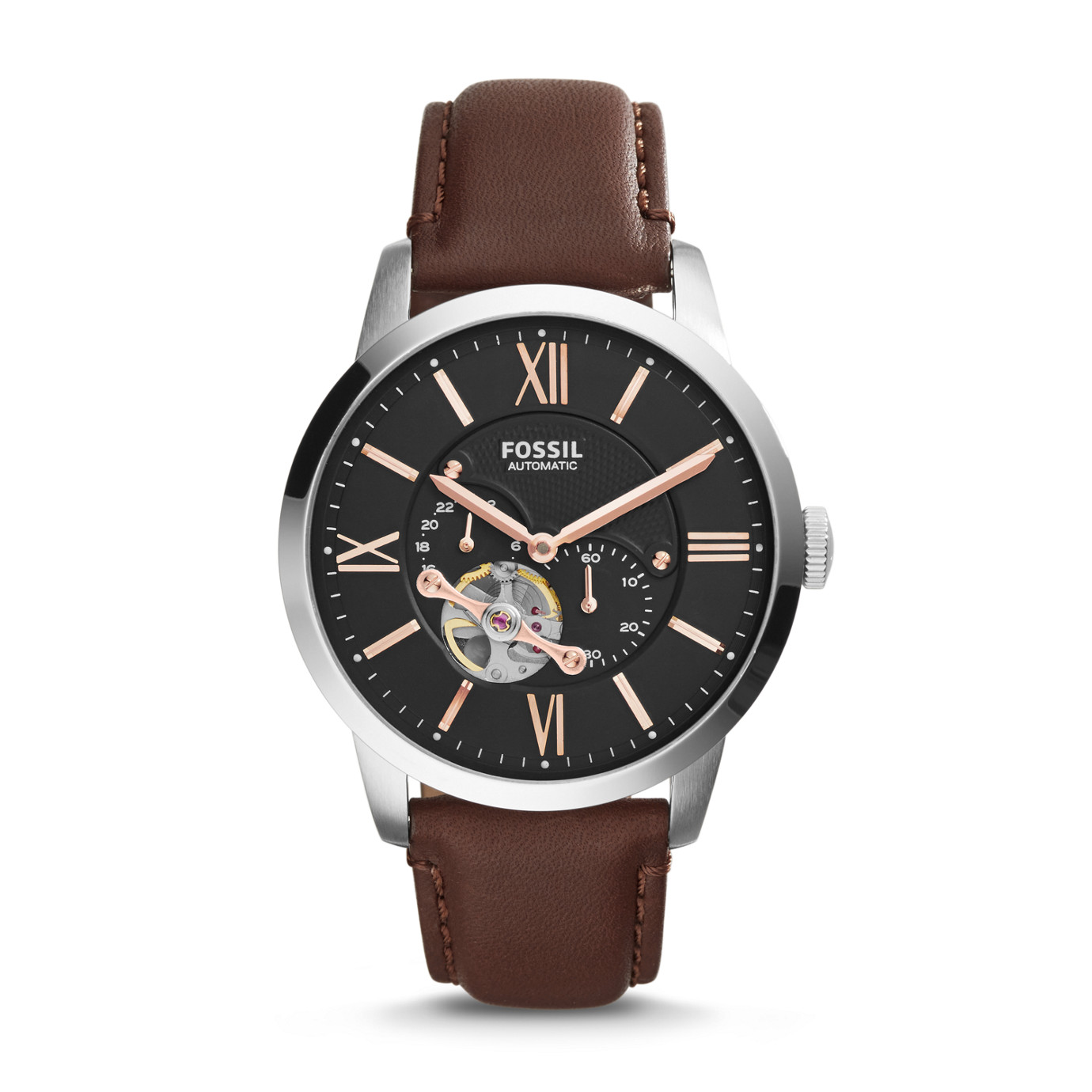 Townsman Automatic Leather Watch – Brown