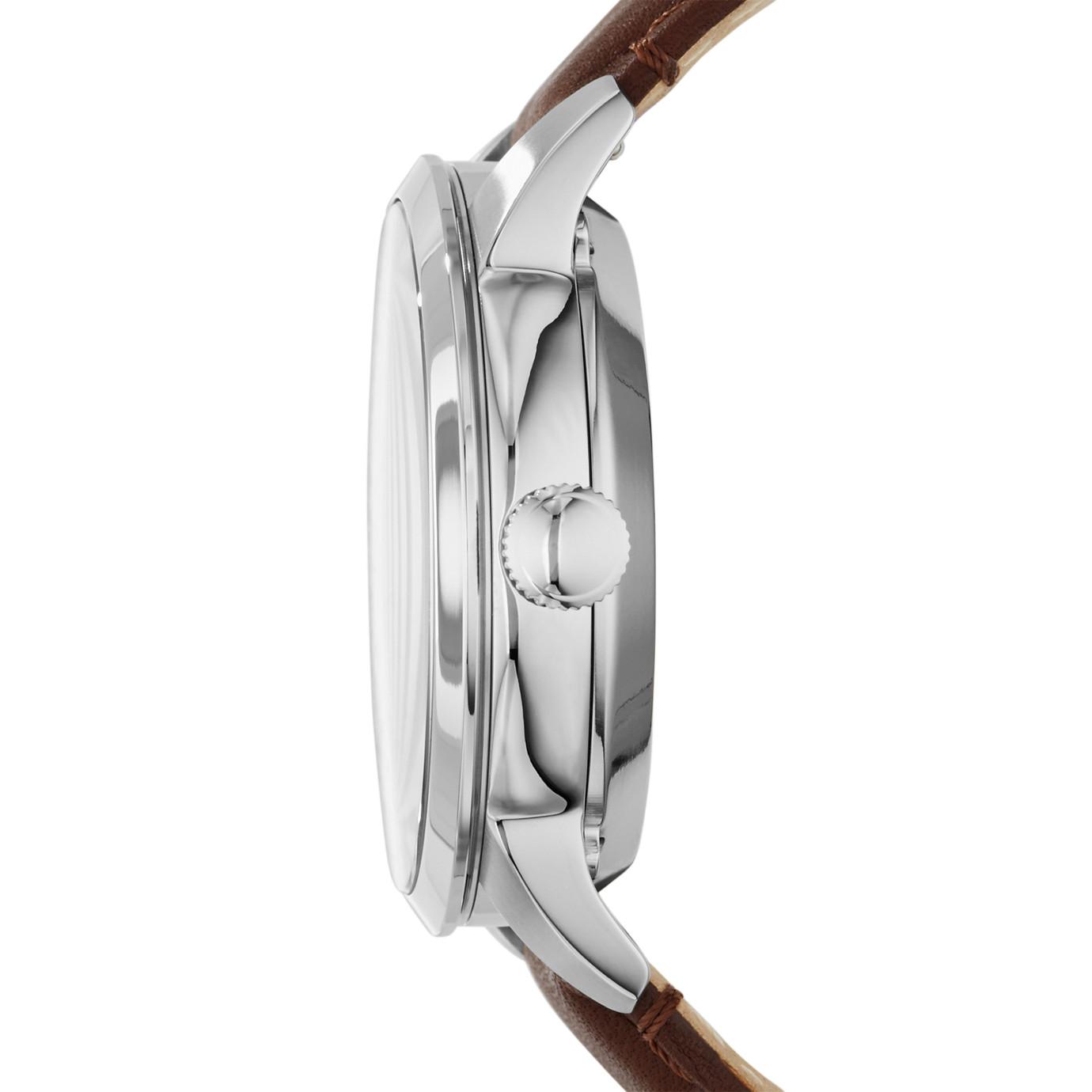 Townsman 系列皮革自動手錶—棕色