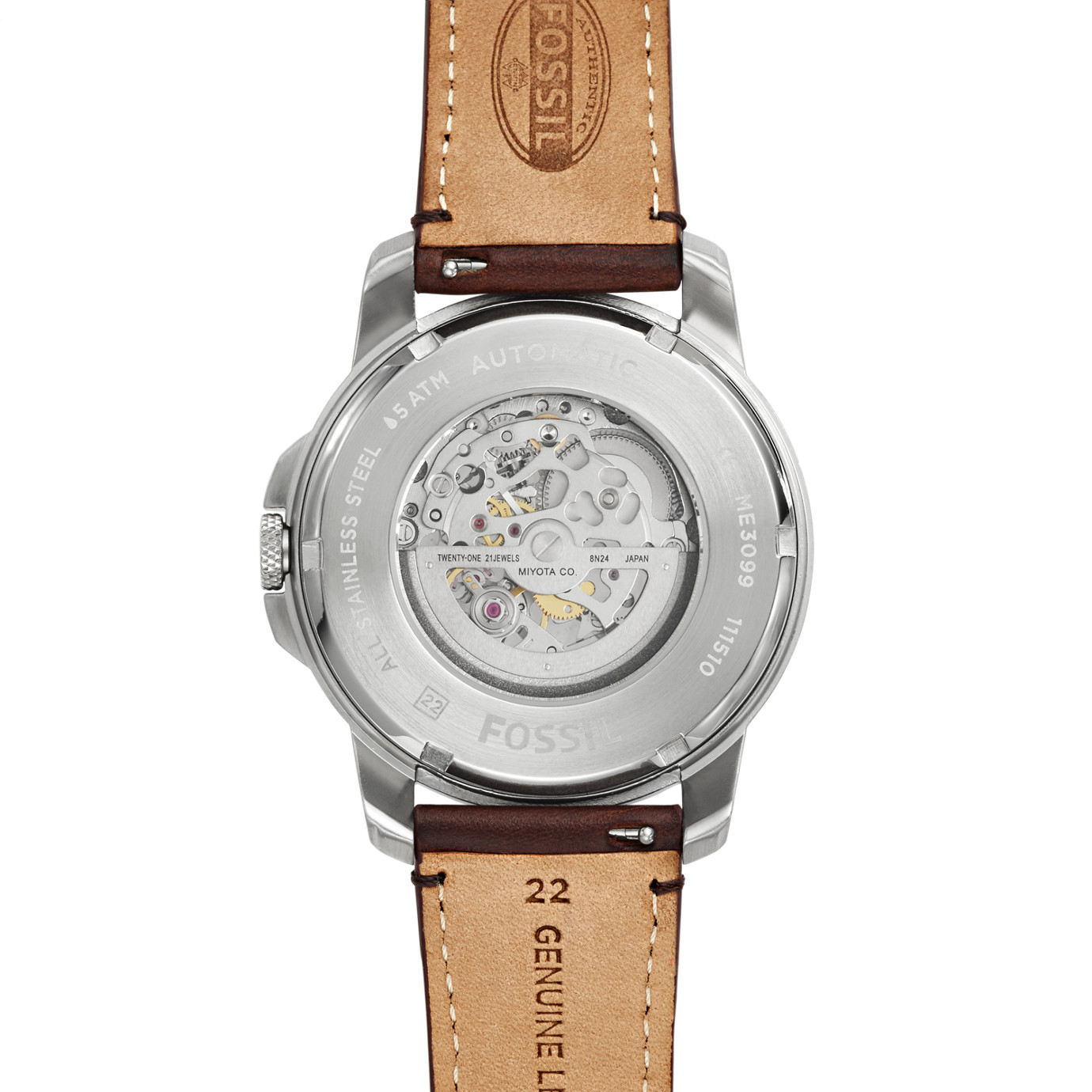 Grant Automatic Leather Watch – Dark Brown