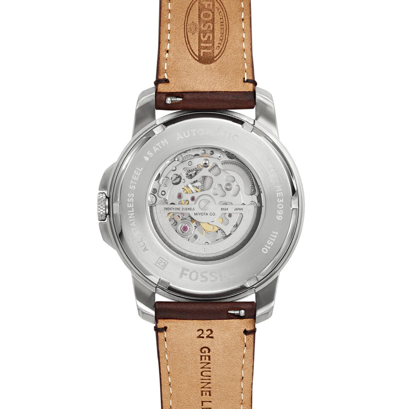 Grant 系列皮革自動手錶—深棕色