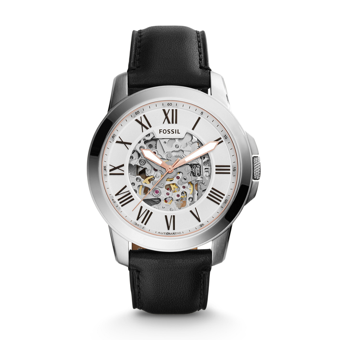 Grant Automatic Leather Watch –Black